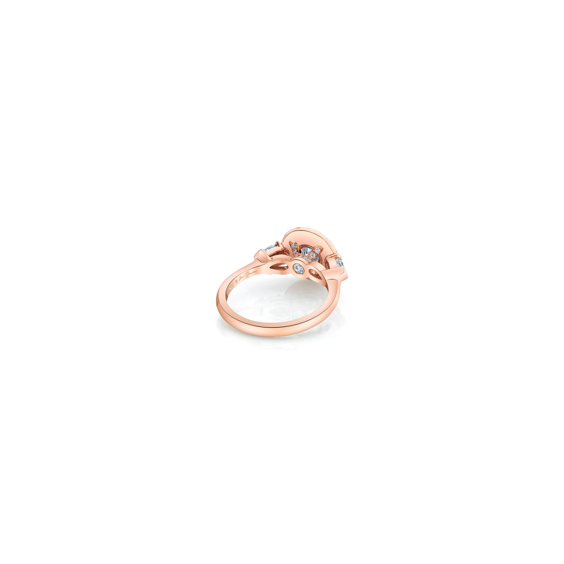 Clementine Round Brilliant Seamless Solitaire™ Three Stone Engagement Ring with pear-shaped diamond side stones in 18k Rose Gold Back View by Oui by Jean Dousset