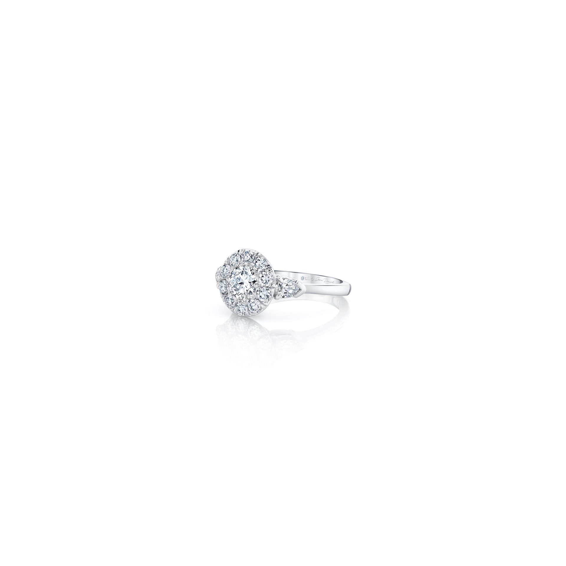 Clementine Round Brilliant Seamless Solitaire™ Three Stone Engagement Ring with pear-shaped diamond side stones in 18k White Gold Side View by Oui by Jean Dousset