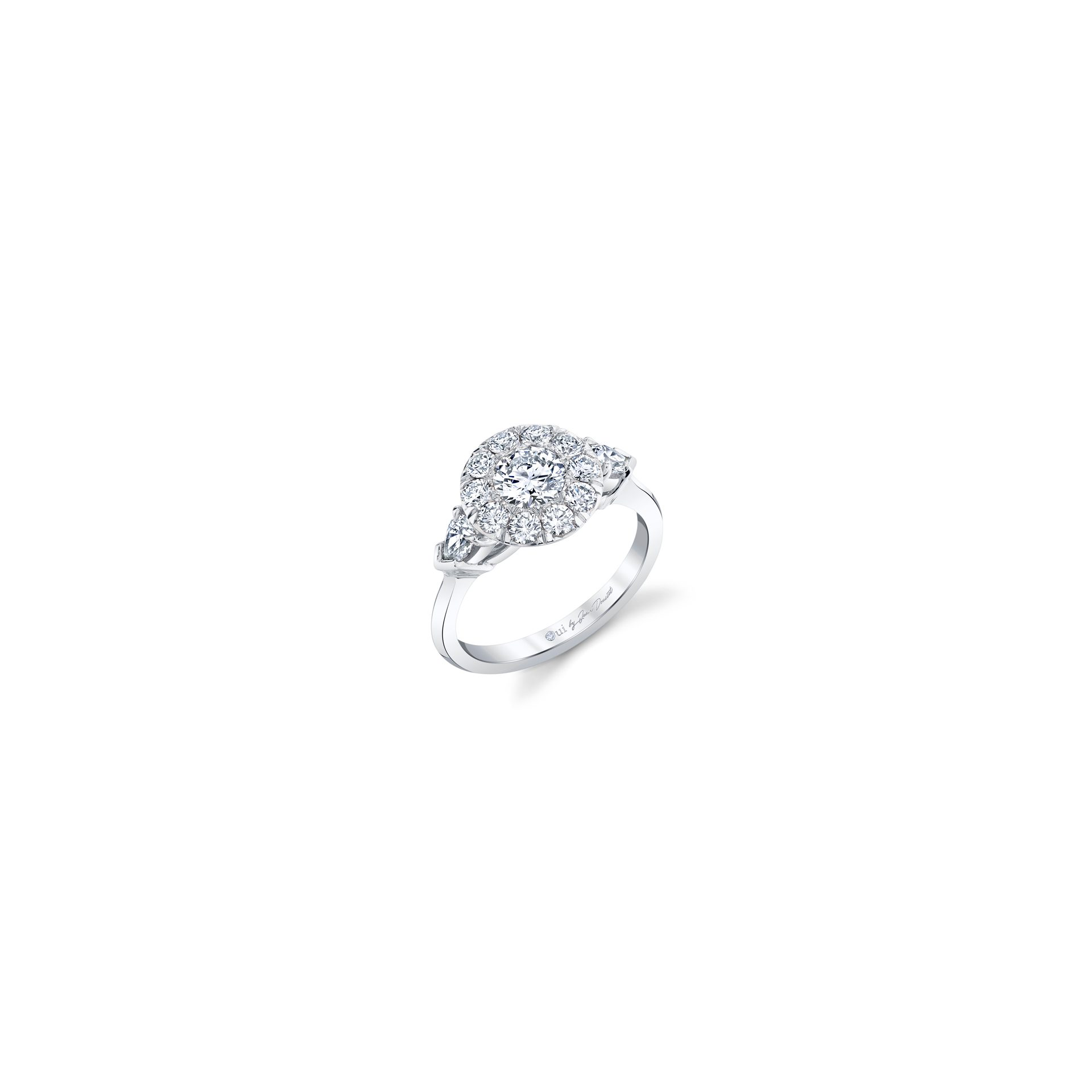 Clementine Round Brilliant Seamless Solitaire™ Three Stone Engagement Ring with pear-shaped diamond side stones in 18k White Gold Front View by Oui by Jean Dousset