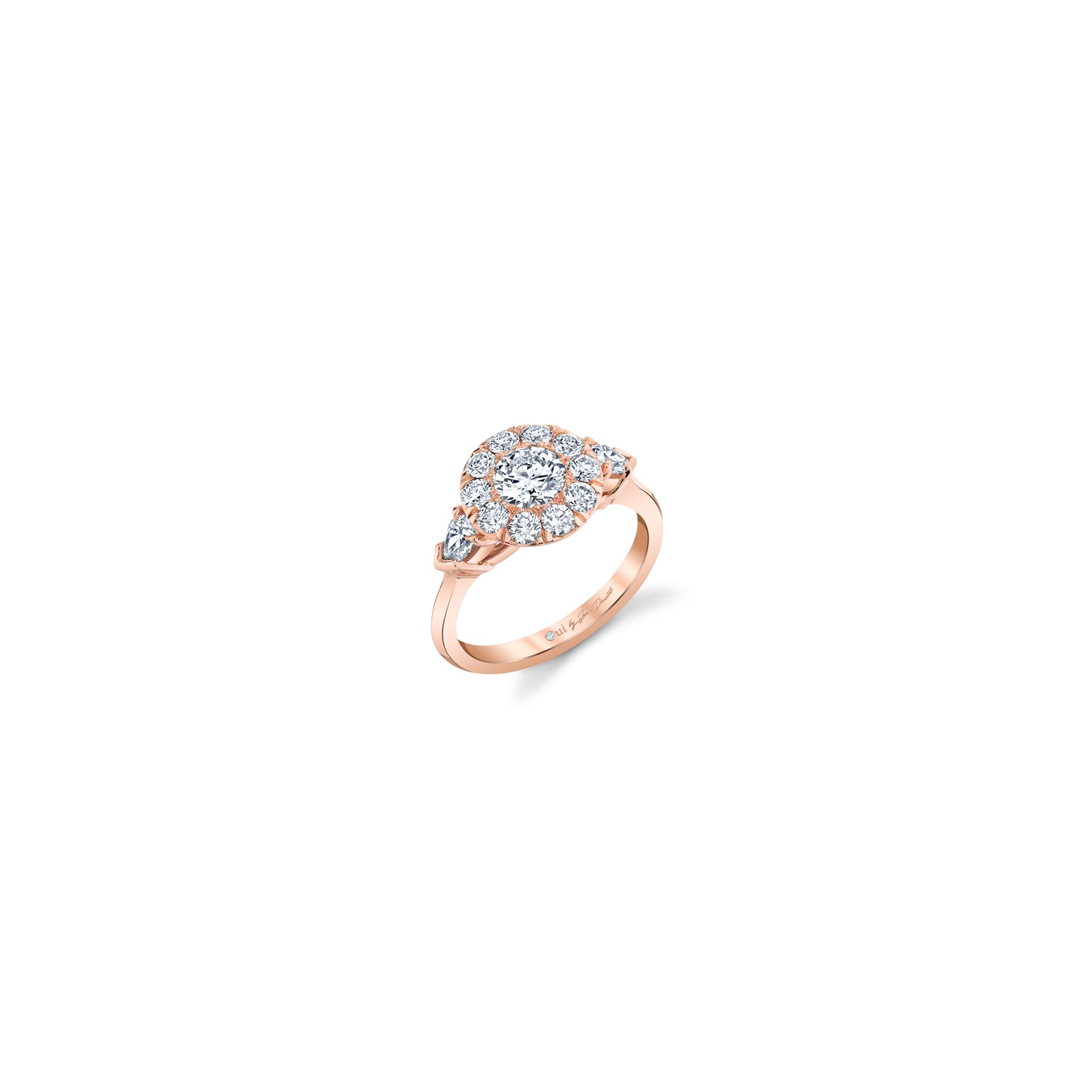 Clementine Round Brilliant Seamless Solitaire™ Three Stone Engagement Ring with pear-shaped diamond side stones in 18k Rose Gold Front View by Oui by Jean Dousset