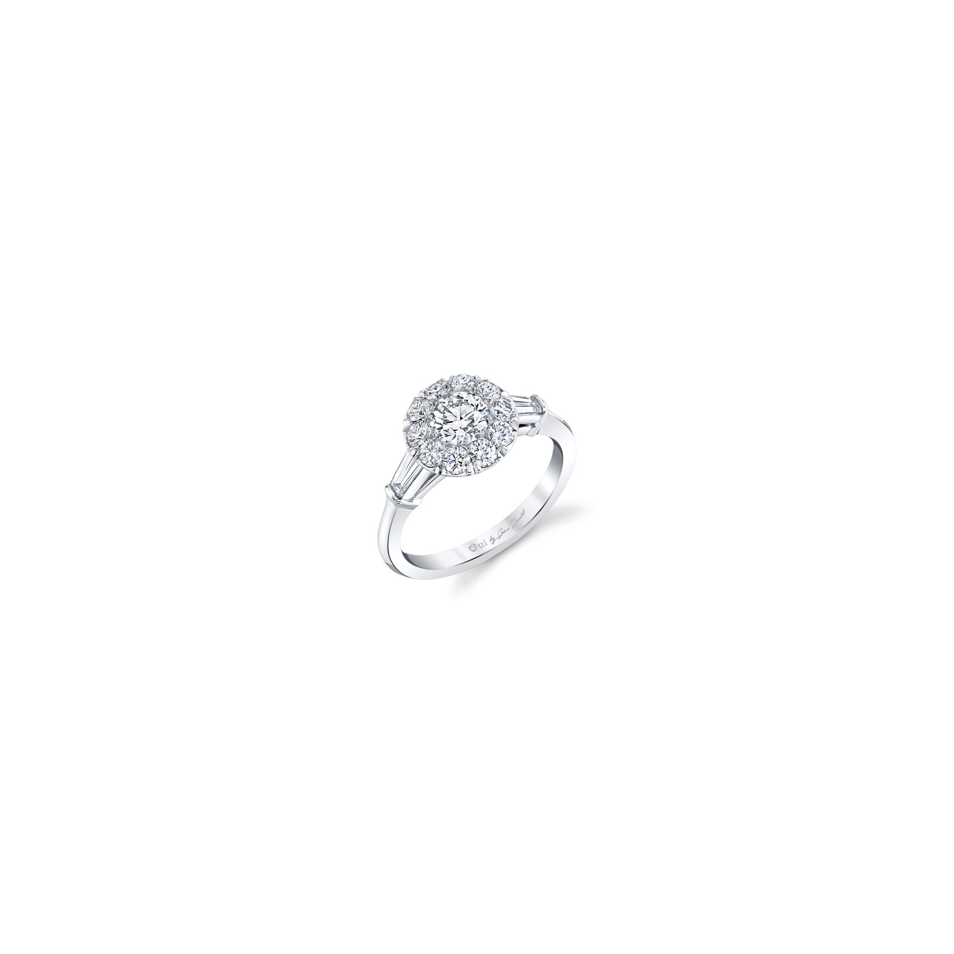 Madeline Round Brilliant Seamless Solitaire™ Three Stone Engagement Ring with tapered baguette diamond side stones in 18k White Gold Front View by Oui by Jean Dousset
