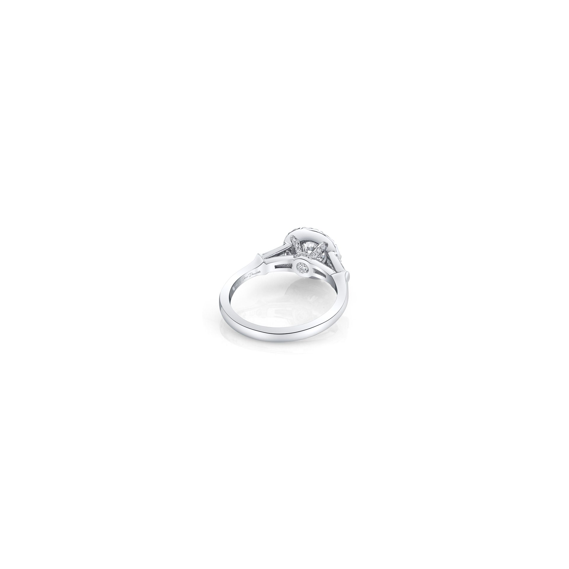Madeline Round Brilliant Seamless Solitaire™ Three Stone Engagement Ring with tapered baguette diamond side stones in 18k White Gold Back View by Oui by Jean Dousset