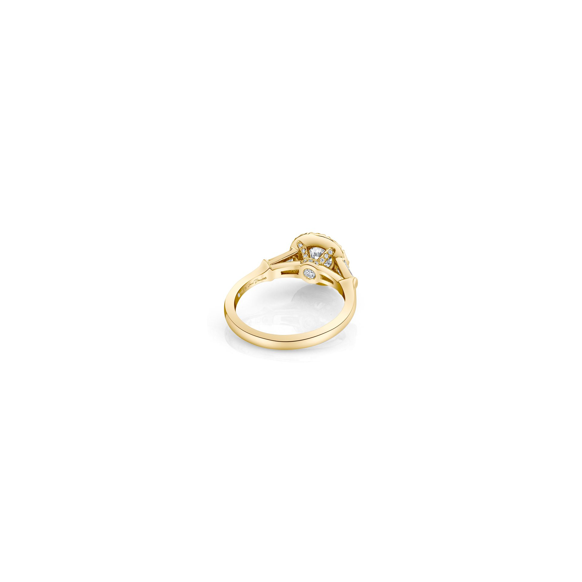 Madeline Round Brilliant Seamless Solitaire™ Three Stone Engagement Ring with tapered baguette diamond side stones in 18k Yellow Gold Back View by Oui by Jean Dousset