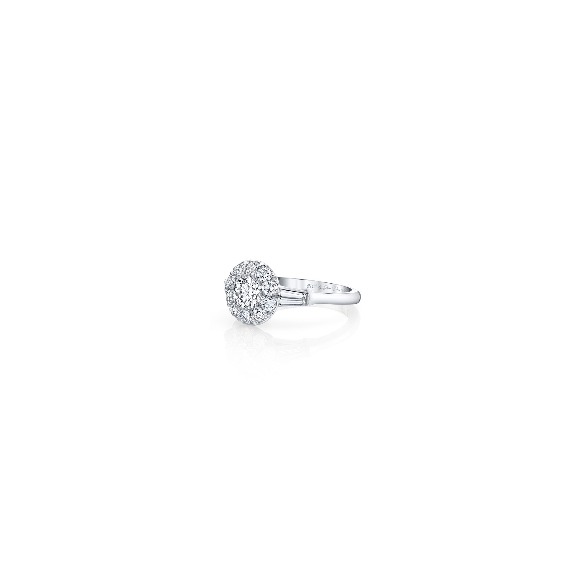 Madeline Round Brilliant Seamless Solitaire™ Three Stone Engagement Ring with tapered baguette diamond side stones in 18k White Gold Side View by Oui by Jean Dousset