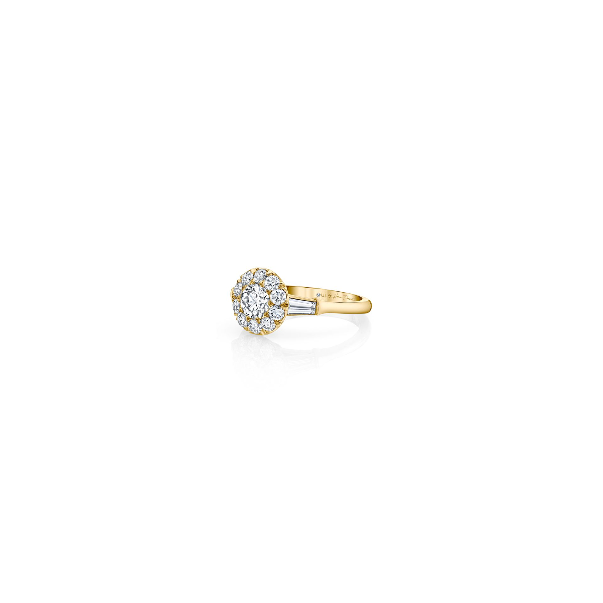 Madeline Round Brilliant Seamless Solitaire™ Three Stone Engagement Ring with tapered baguette diamond side stones in 18k Yellow Gold Side View by Oui by Jean Dousset