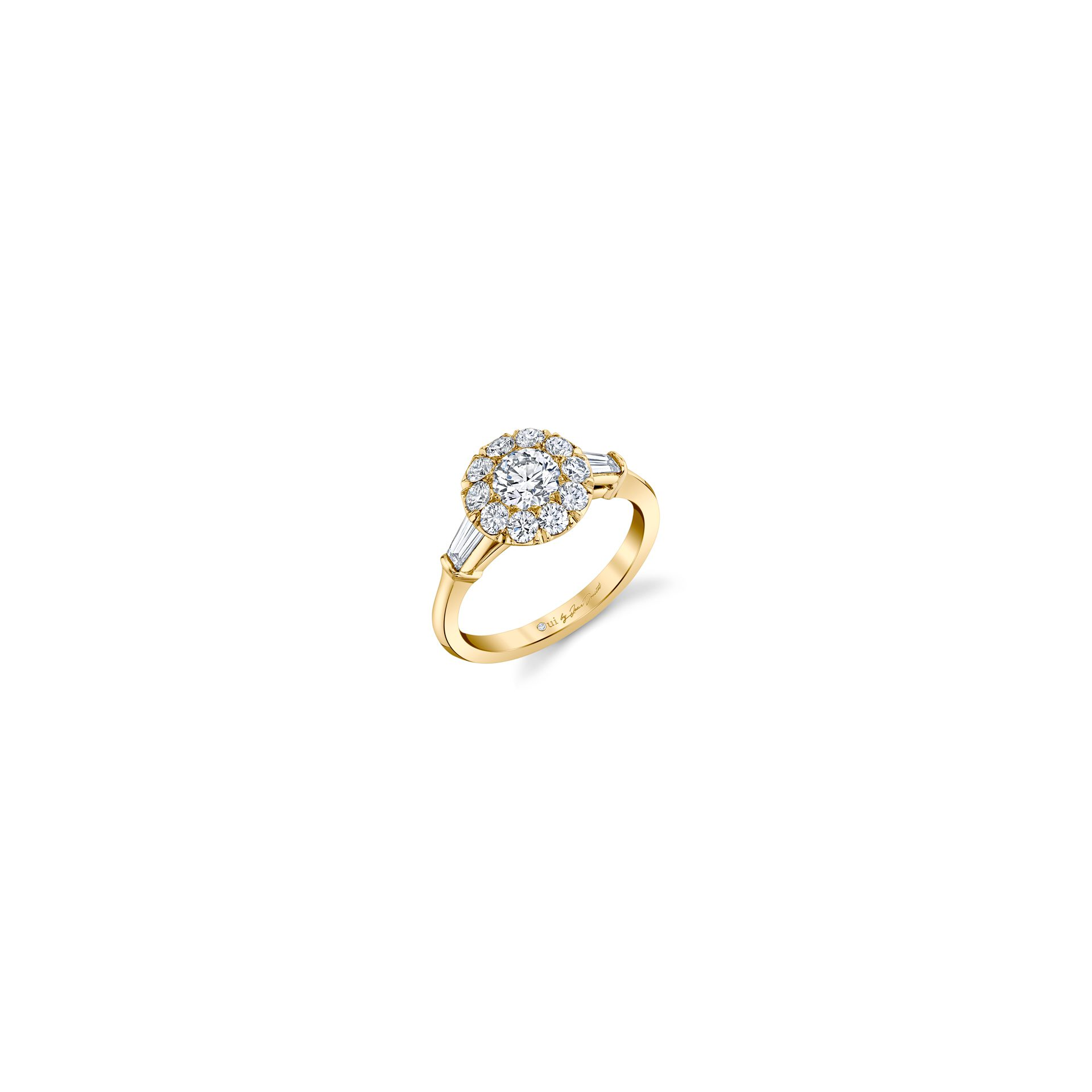 Madeline Round Brilliant Seamless Solitaire™ Three Stone Engagement Ring with tapered baguette diamond side stones in 18k Yellow Gold Front View by Oui by Jean Dousset