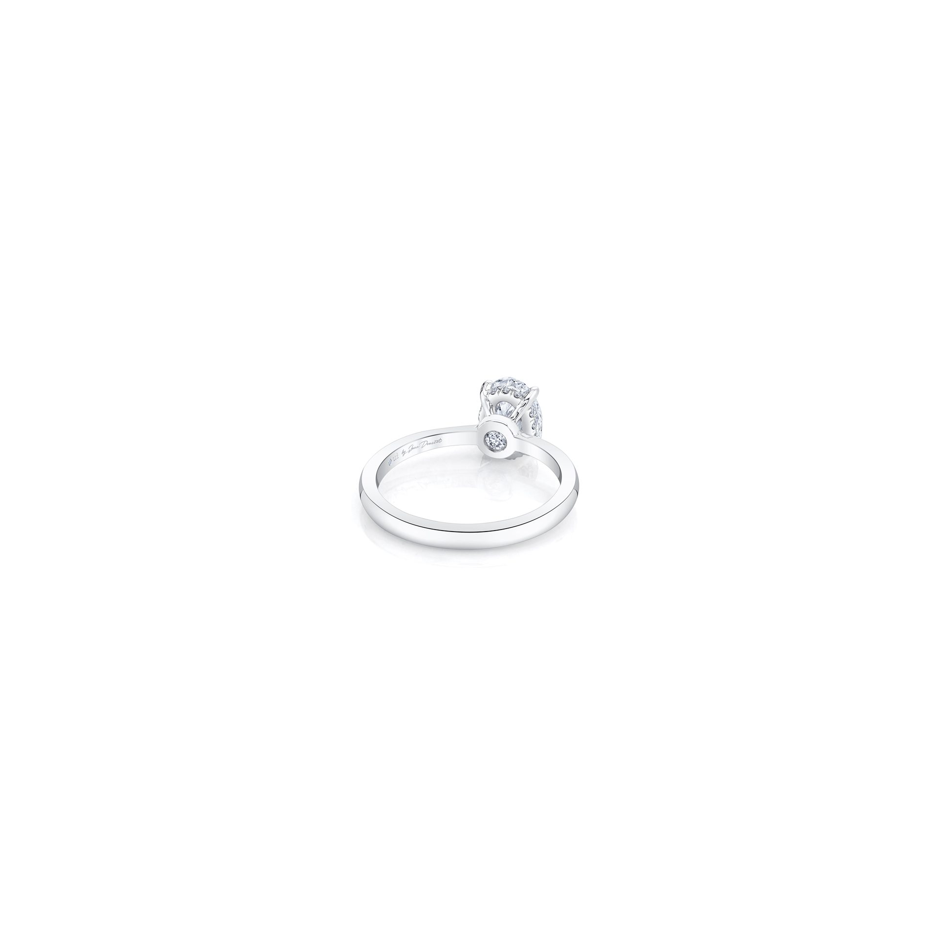 Colette Oval Solitaire Engagement Ring with a sold band in 18k White Gold Back Shot by Oui by Jean Dousset