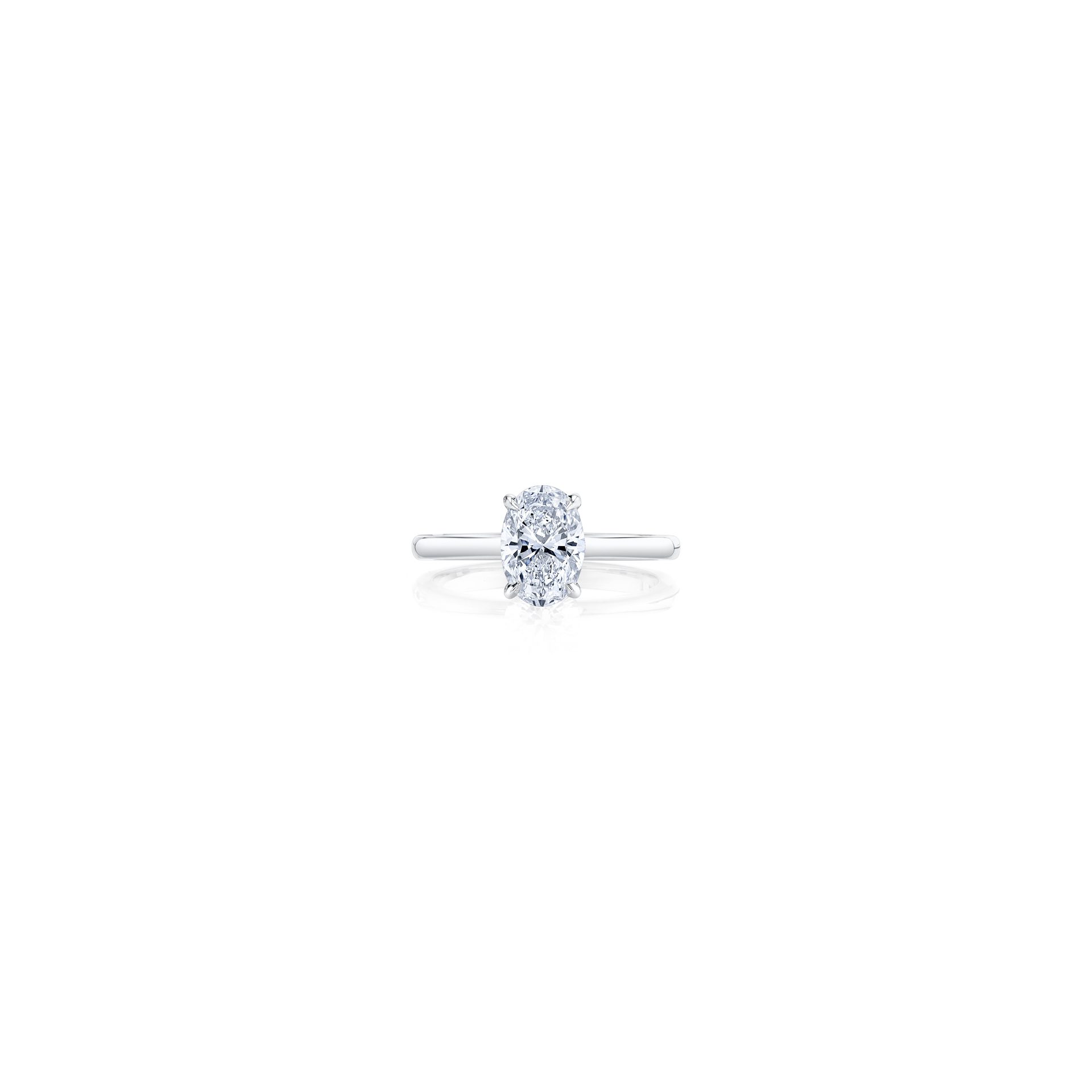 Colette Oval Solitaire Engagement Ring with a sold band in 18k White Gold Front Shot by Oui by Jean Dousset