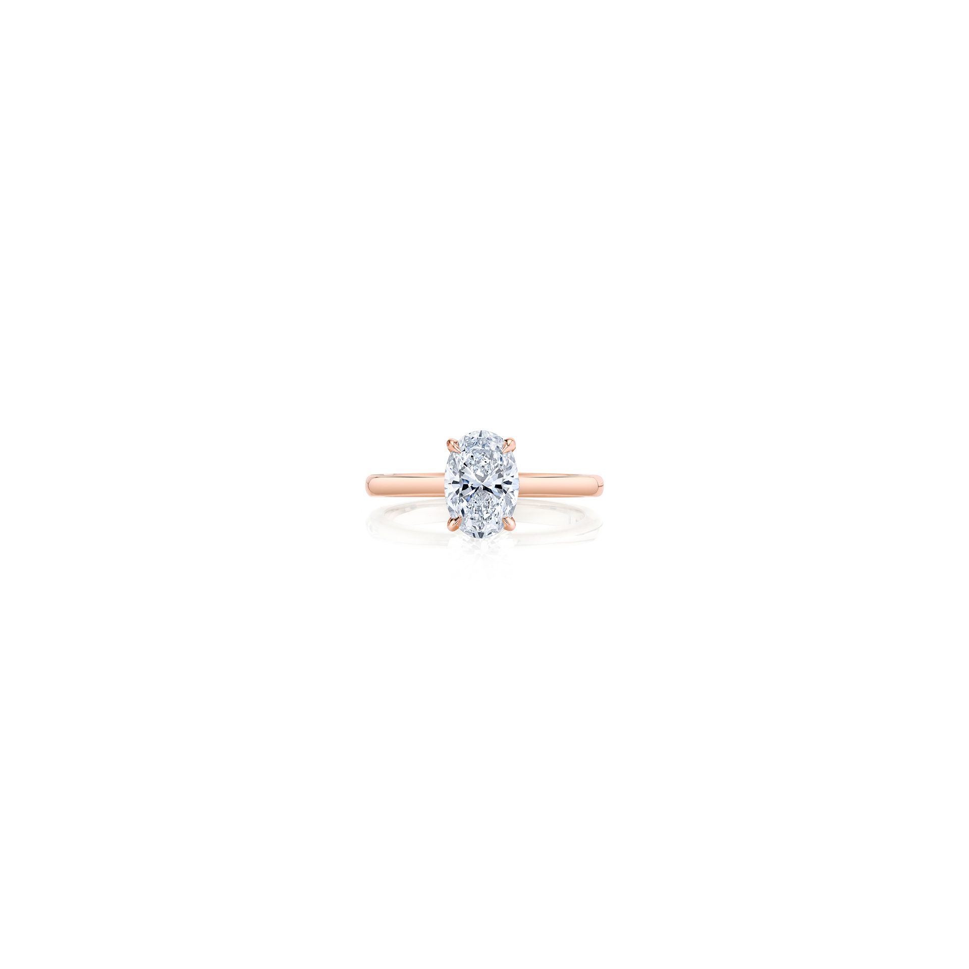 Colette Oval Solitaire Engagement Ring with a sold band in 18k Rose Gold Front Shot by Oui by Jean Dousset