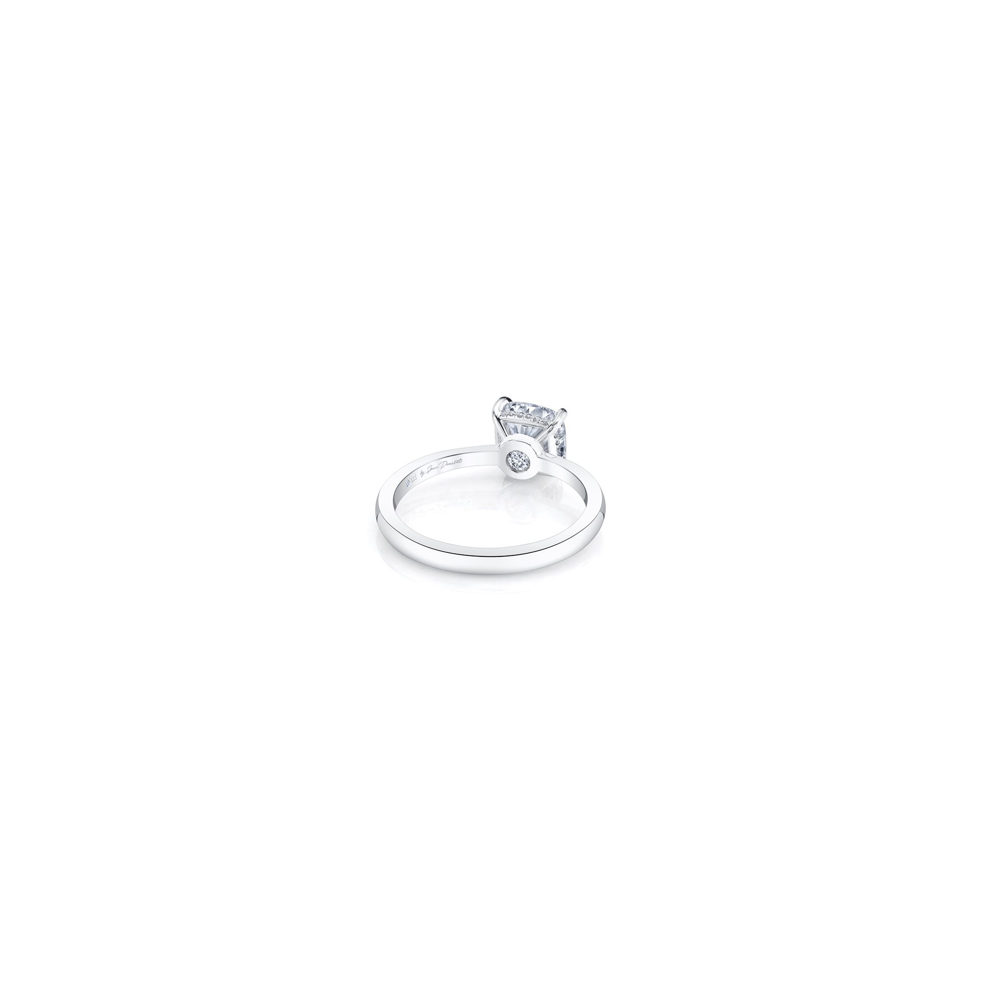 Colette Cushion Solitaire Engagement Ring with a sold band in 18k White Gold Back Shot by Oui by Jean Dousset