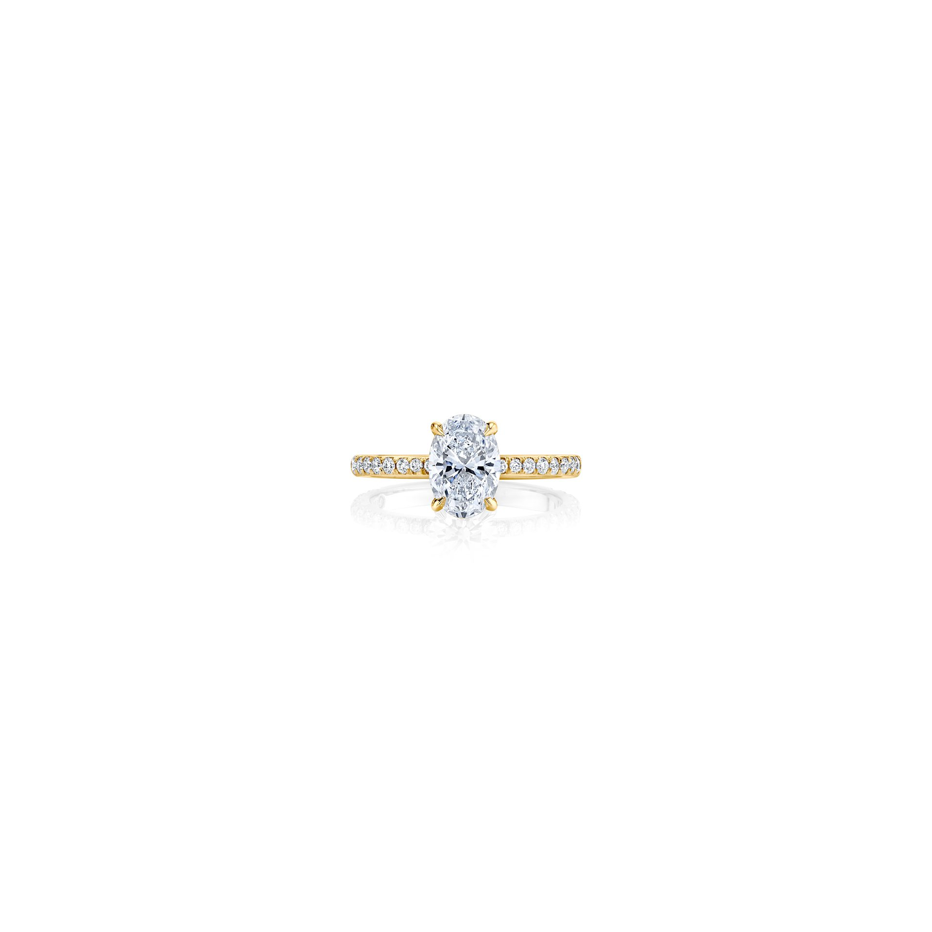 Eloise Oval Solitaire Engagement Ring with a diamond pavé band in 18k Yellow Gold Front View by Oui by Jean Dousset