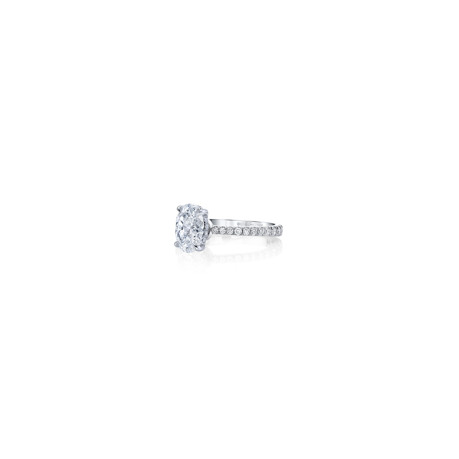 Eloise Oval Solitaire Engagement Ring with a diamond pavé band in 18k White Gold Side View by Oui by Jean Dousset