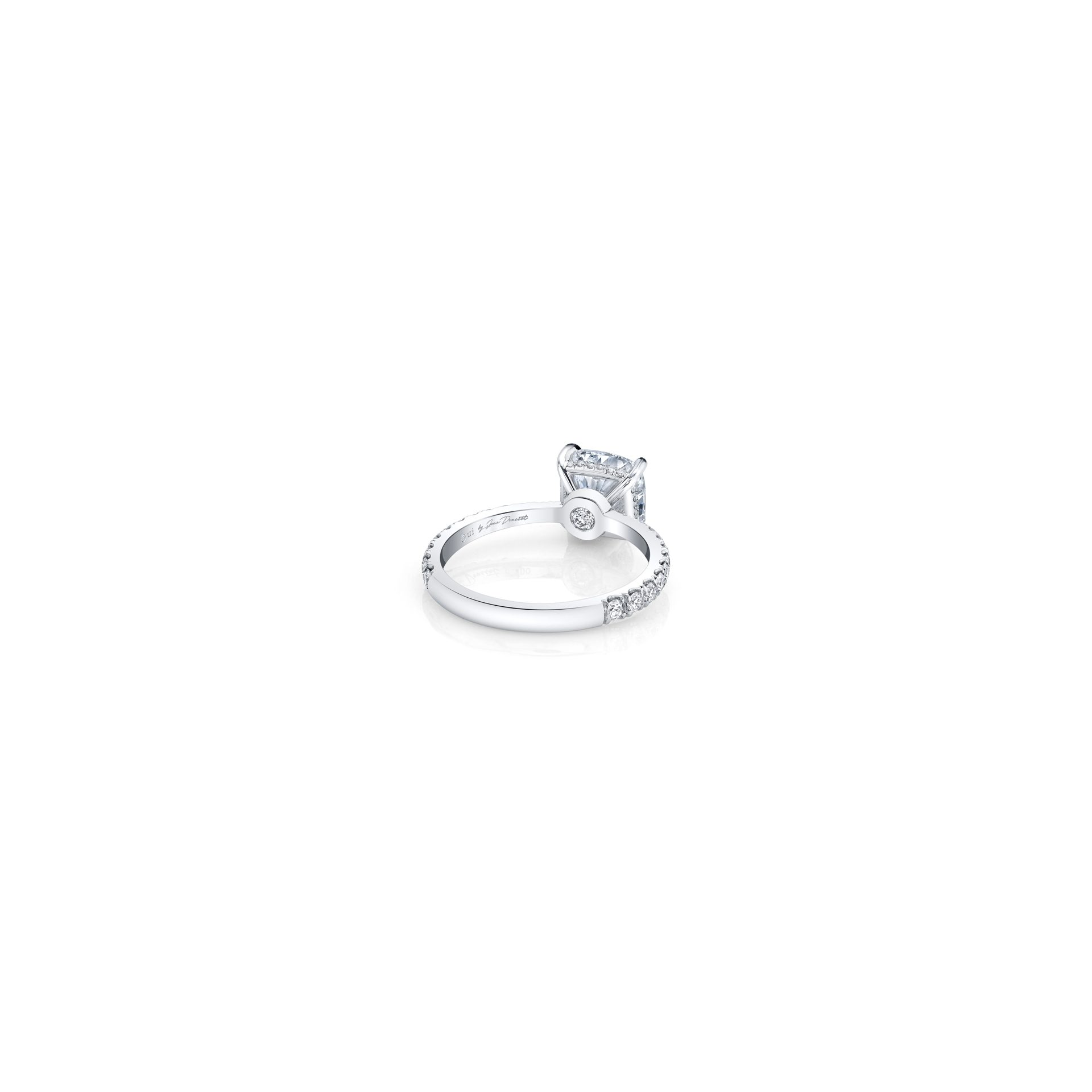 Eloise Cushion Solitaire Engagement Ring with a diamond pavé band in 18k White Gold Back View by Oui by Jean Dousset