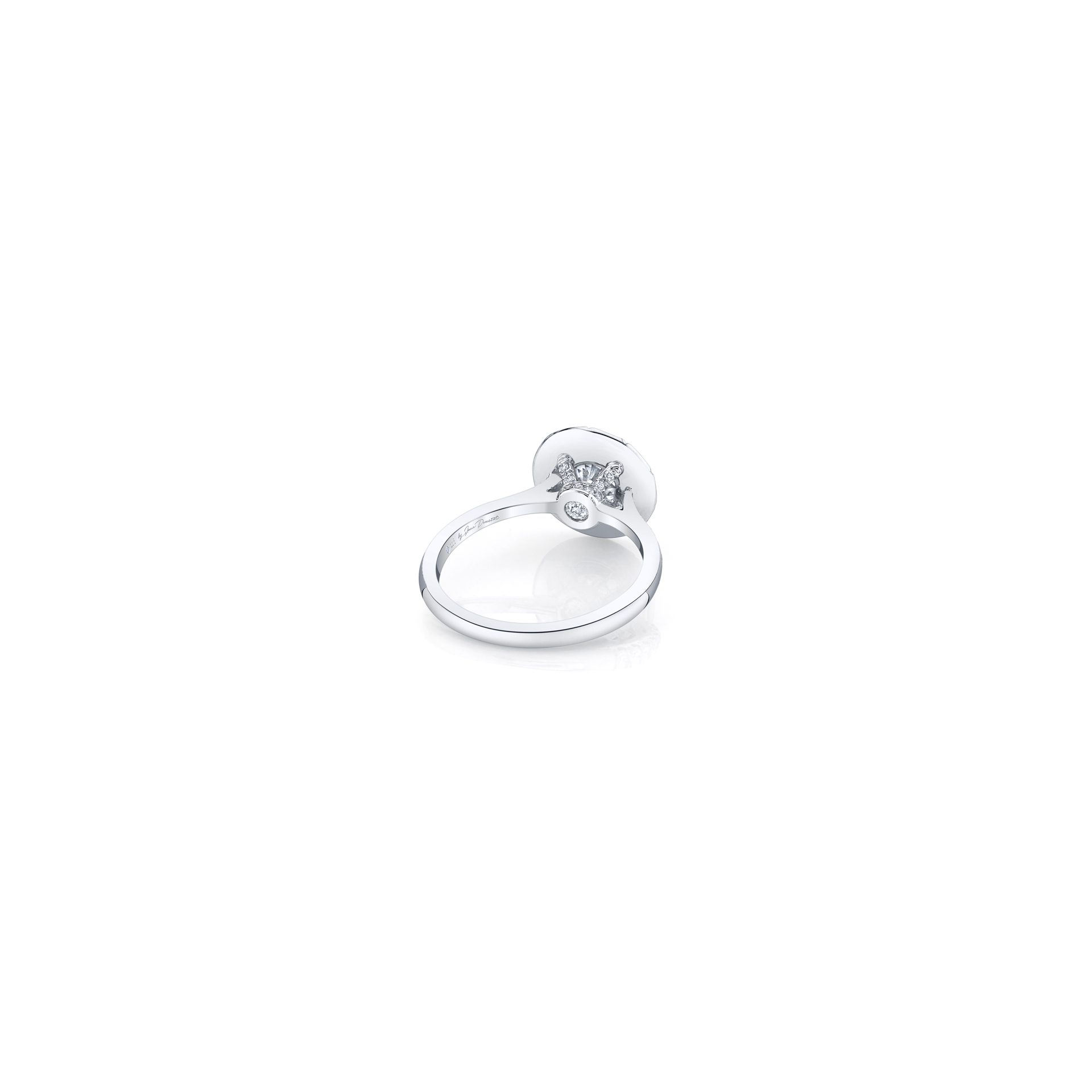 Colette Round Brilliant Seamless Solitaire® Engagement Ring with a solid band in 18k White Gold Back View by Oui by Jean Dousset