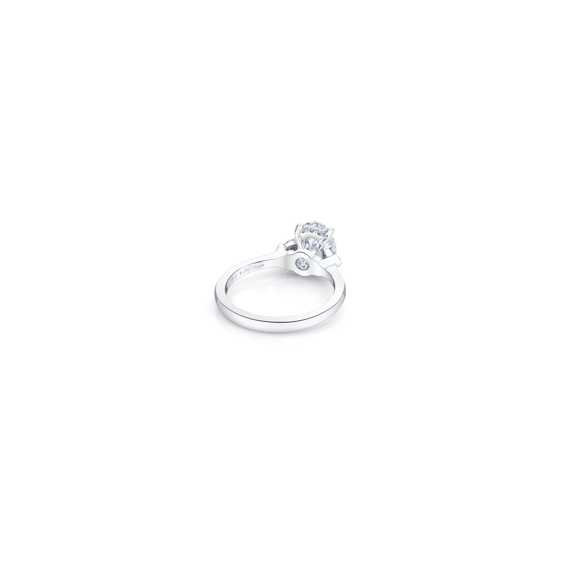 Claire Oval Three Stone Engagement Ring with heart-shaped diamond side stones in 18k White Gold Back View by Oui by Jean Dousset