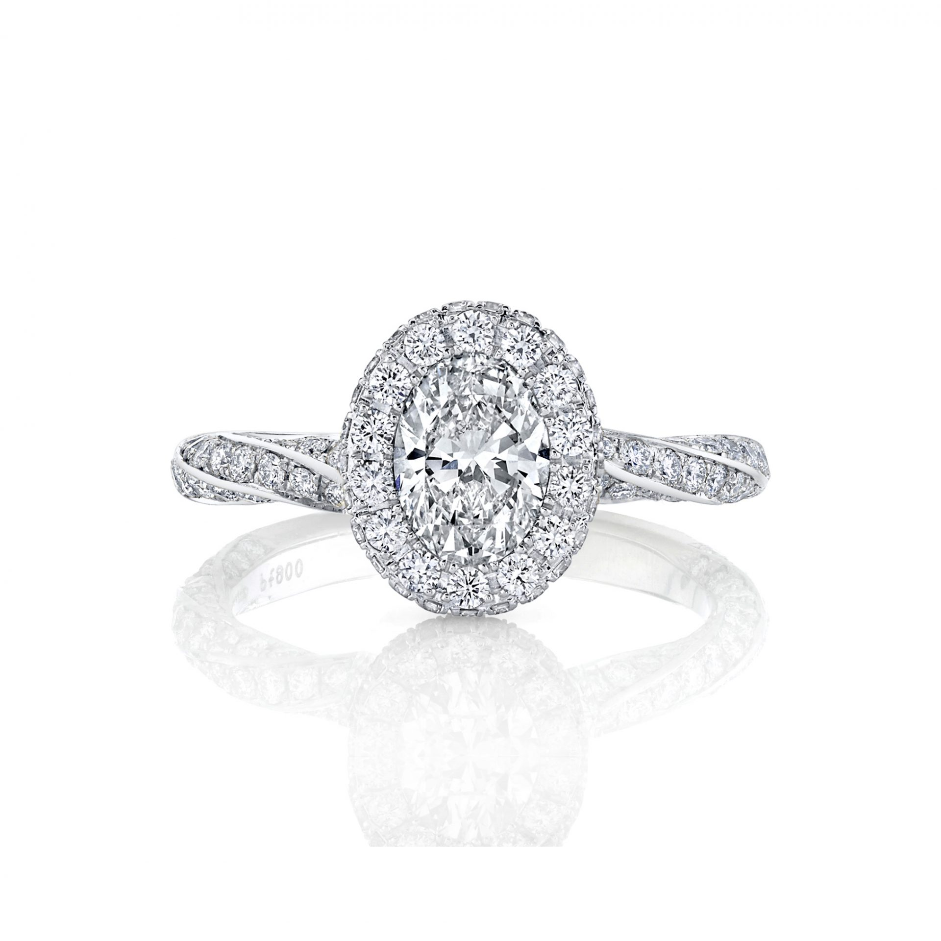 Camille Oval Seamless Halo® Engagement Ring with diamond pavé in 18k White Gold Front View by Oui by Jean Dousset