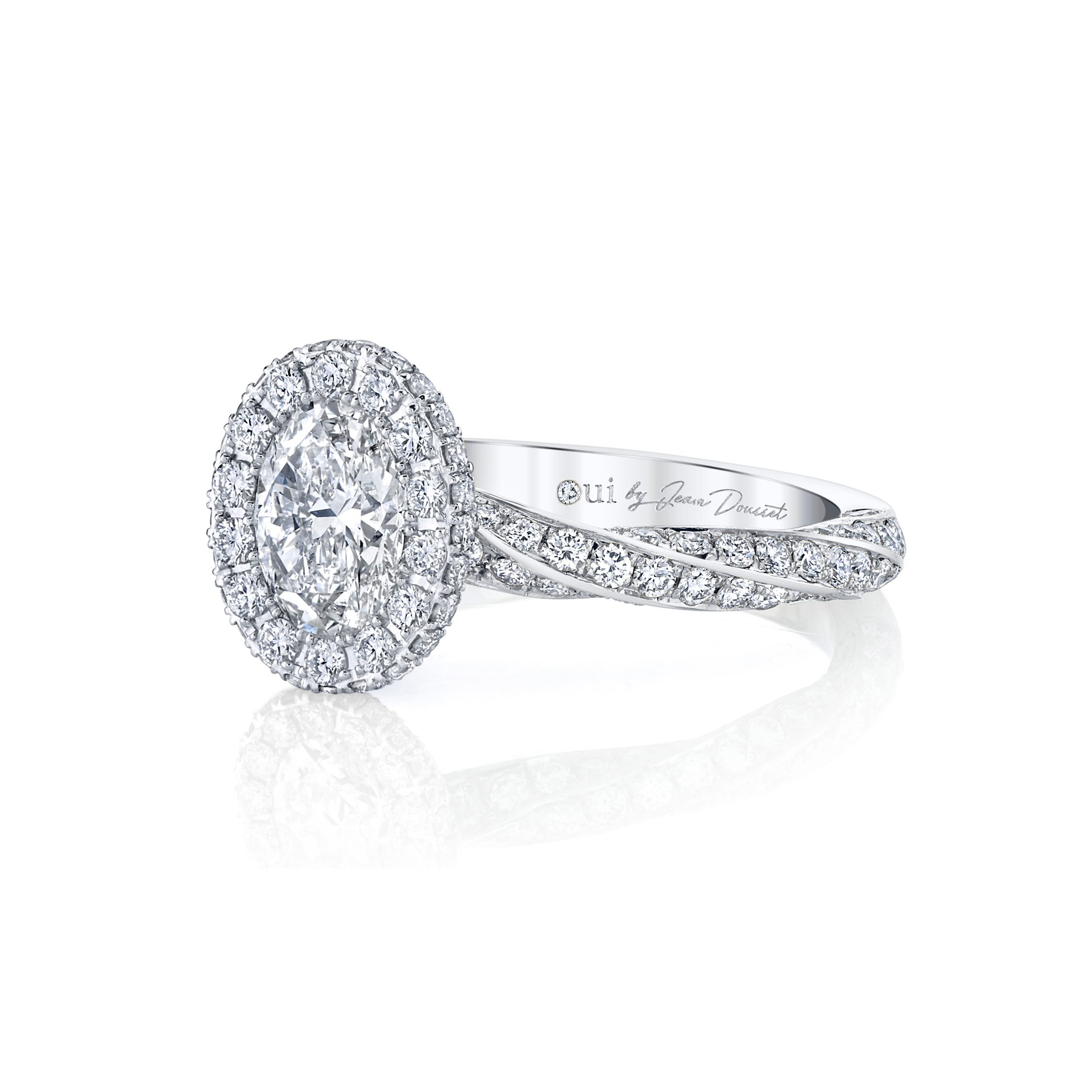 Camille Oval Seamless Halo® Engagement Ring with diamond pavé in 18k White Gold Side View by Oui by Jean Dousset