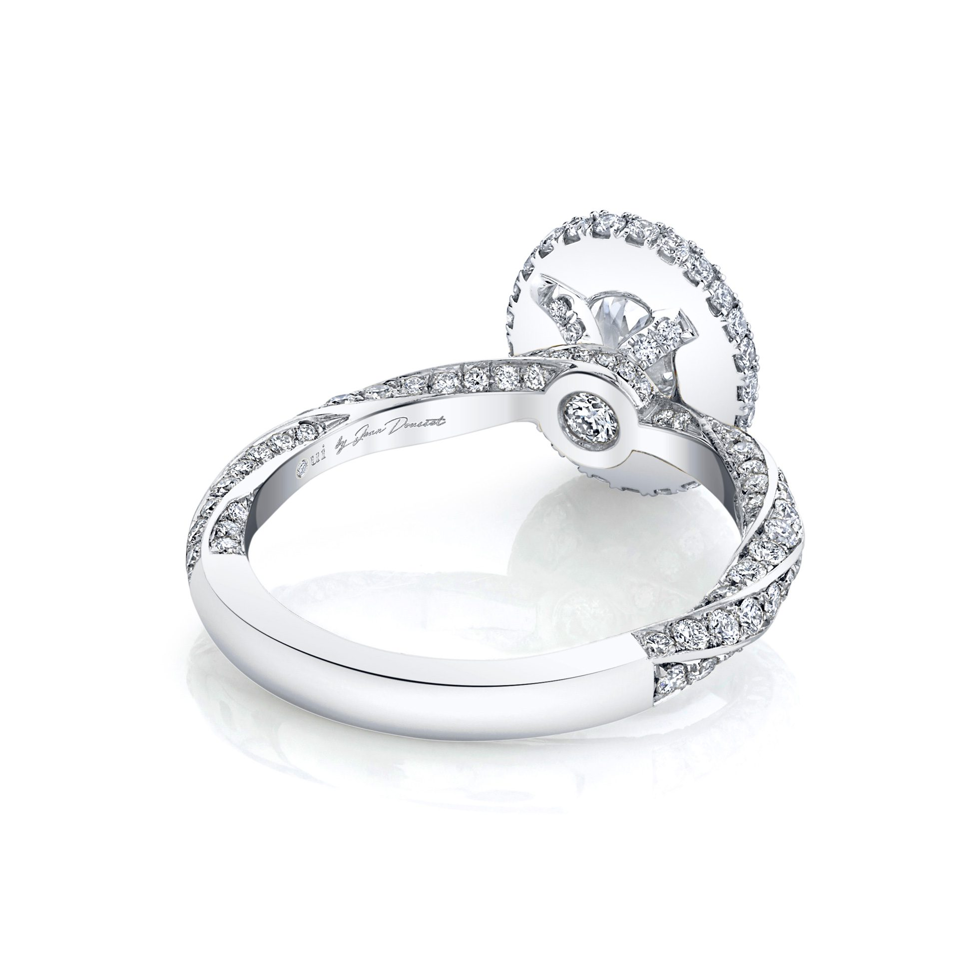 Camille Oval Seamless Halo® Engagement Ring with diamond pavé in 18k White Gold Back View by Oui by Jean Dousset