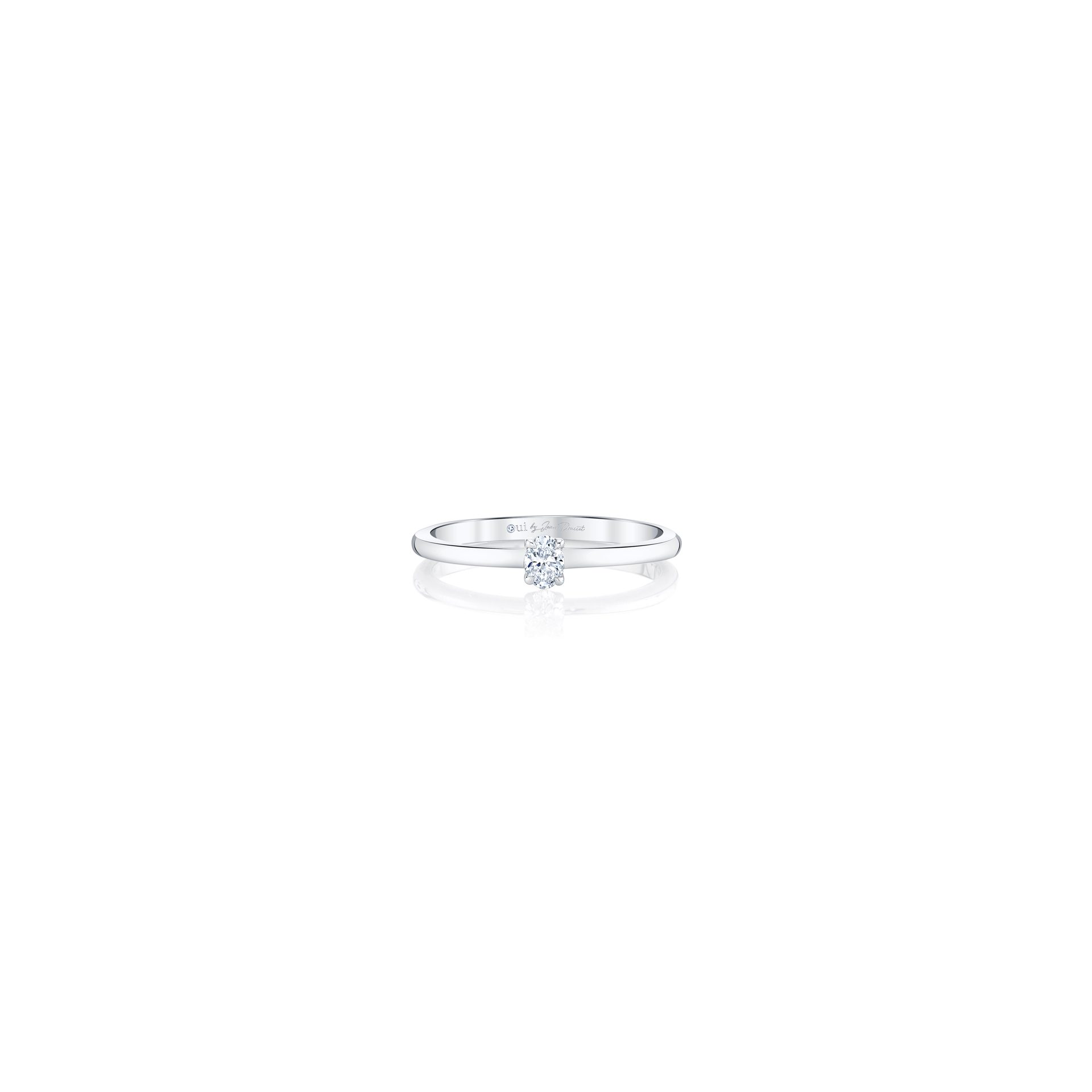 La Petite Oval Diamond Wedding Band in 18k White Gold Front View by Oui by Jean Dousset