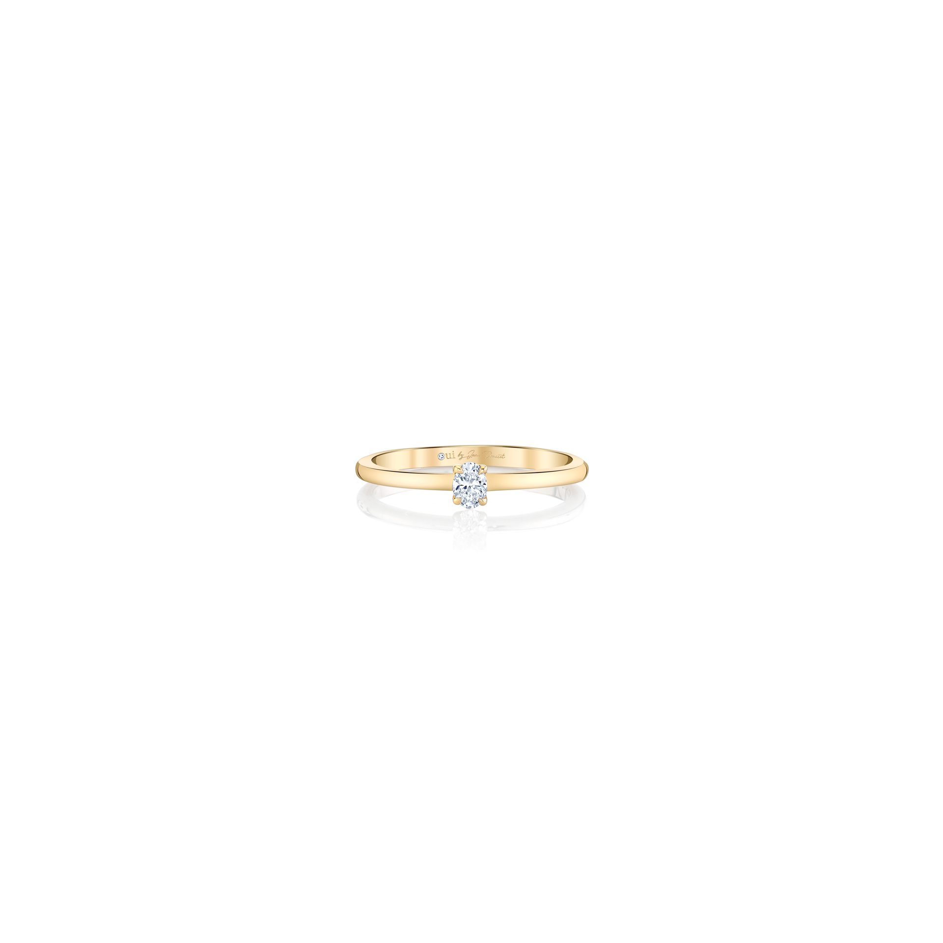 La Petite Oval Diamond Wedding Band in 18k Yellow Gold Front View Front View by Oui by Jean Dousset
