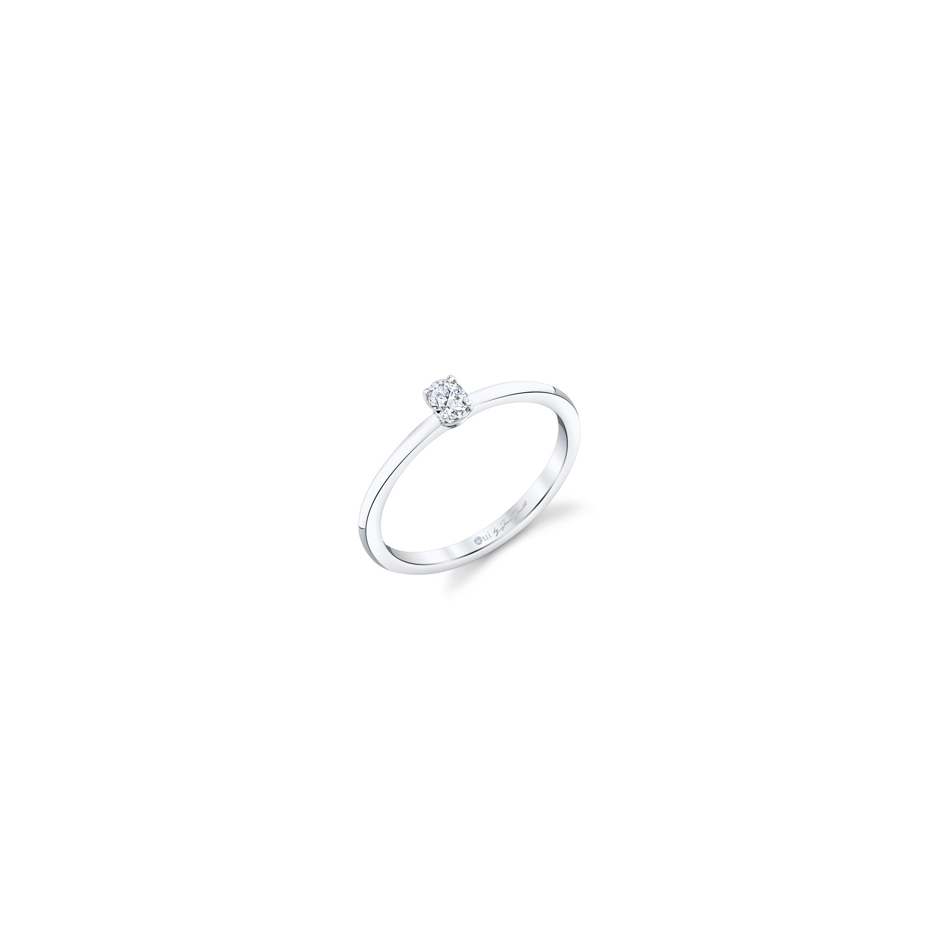 La Petite Oval Diamond Wedding Band in 18k White Gold Standing View by Oui by Jean Dousset