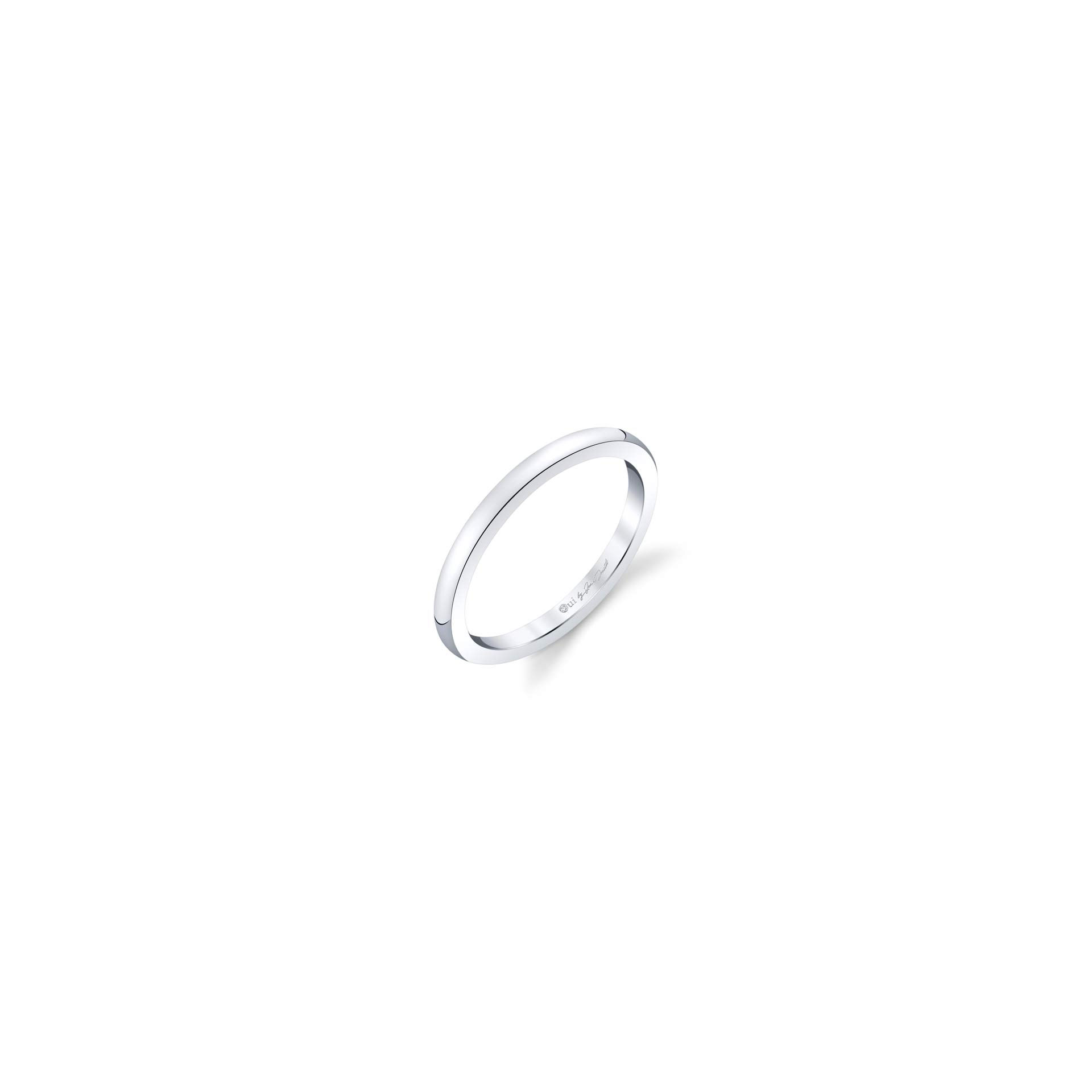 Colette Women's Wedding Band in solid metal in 18k White Gold Standing View by Oui by Jean Dousset