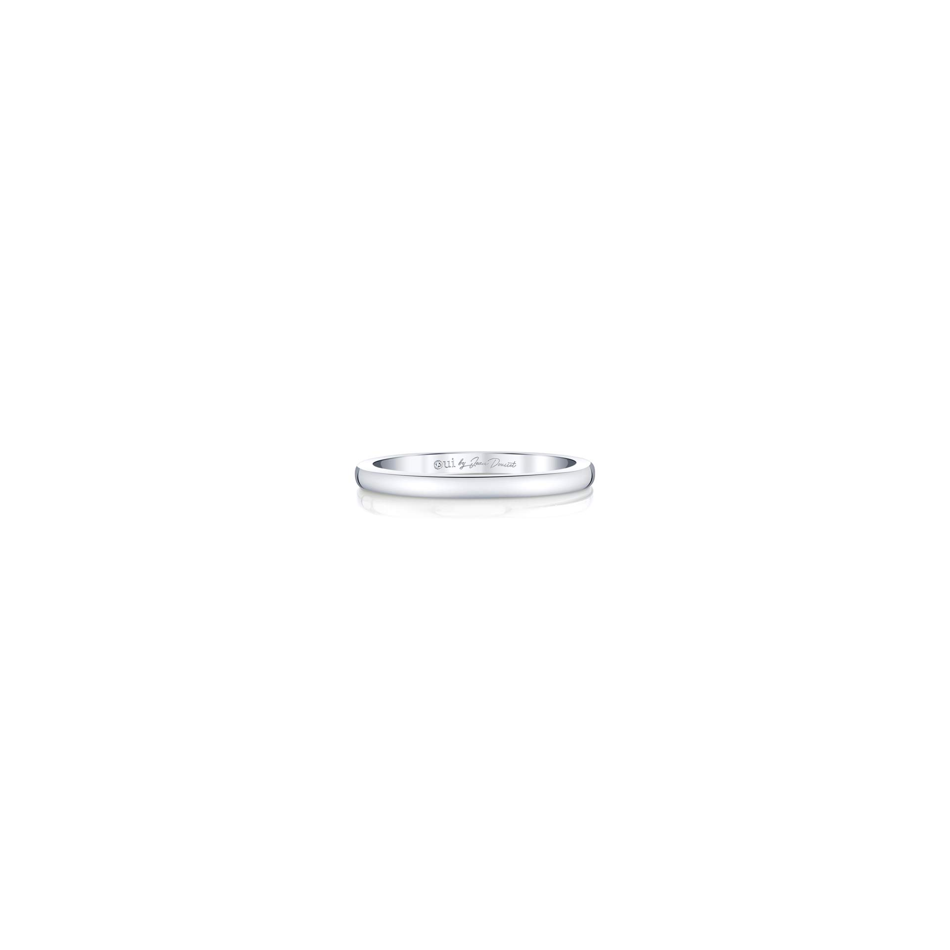 Colette Women's Wedding Band in solid metal in 18k White Gold Front View by Oui by Jean Dousset