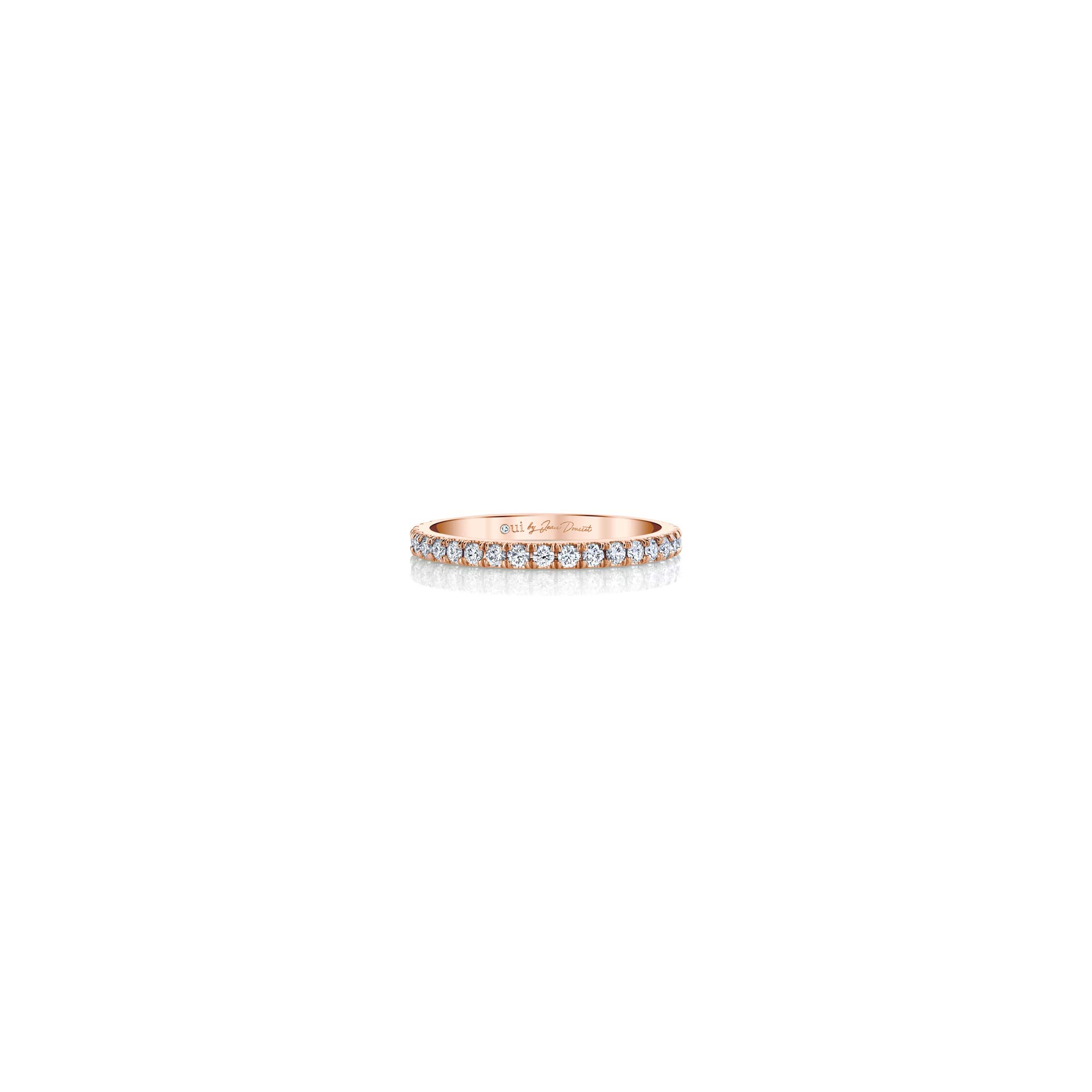 Eloise Women's Wedding Band with diamond pavé in 18k Rose Gold Front View by Oui by Jean Dousset