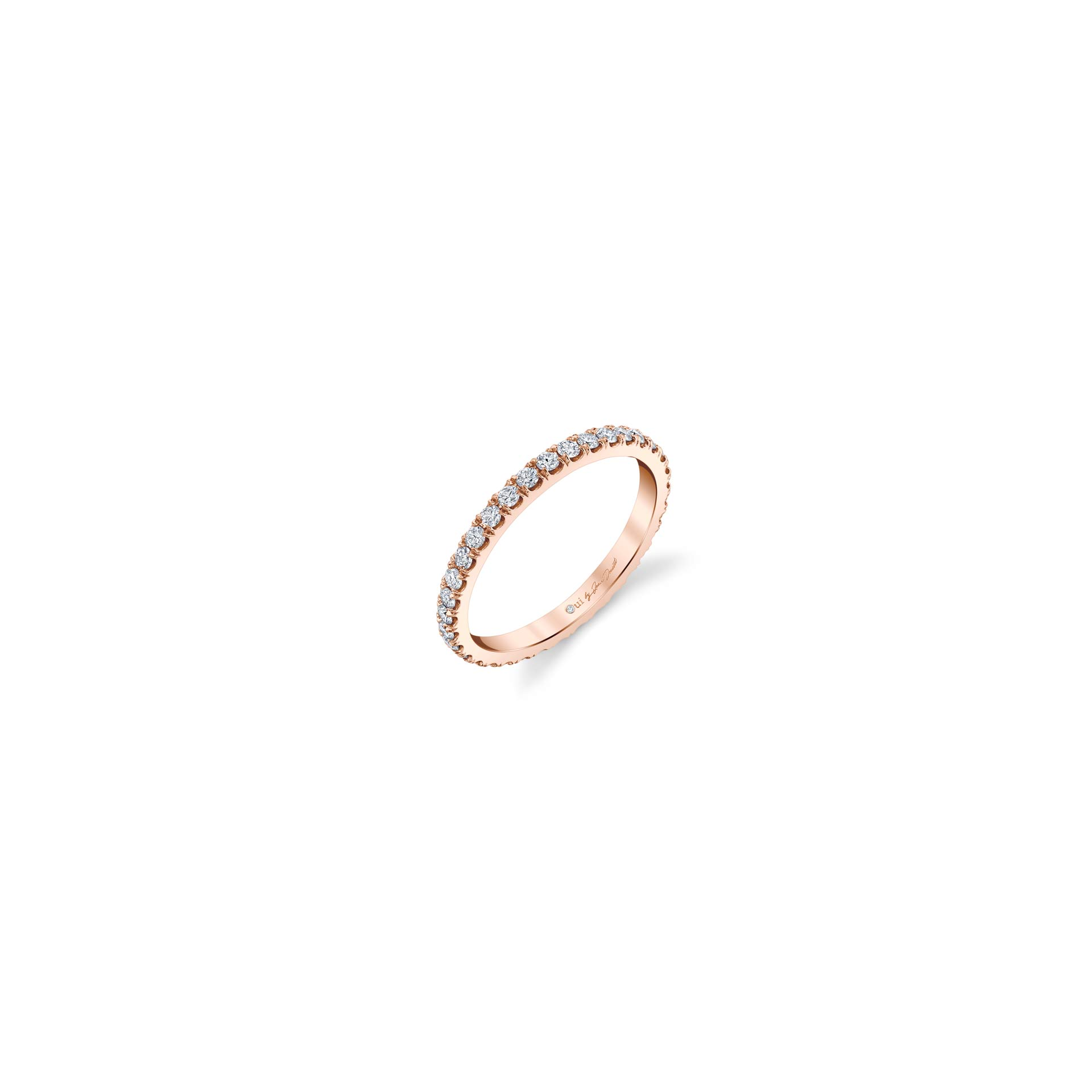 Eloise Women's Wedding Band with diamond pavé in 18k Rose Gold Standing View by Oui by Jean Dousset