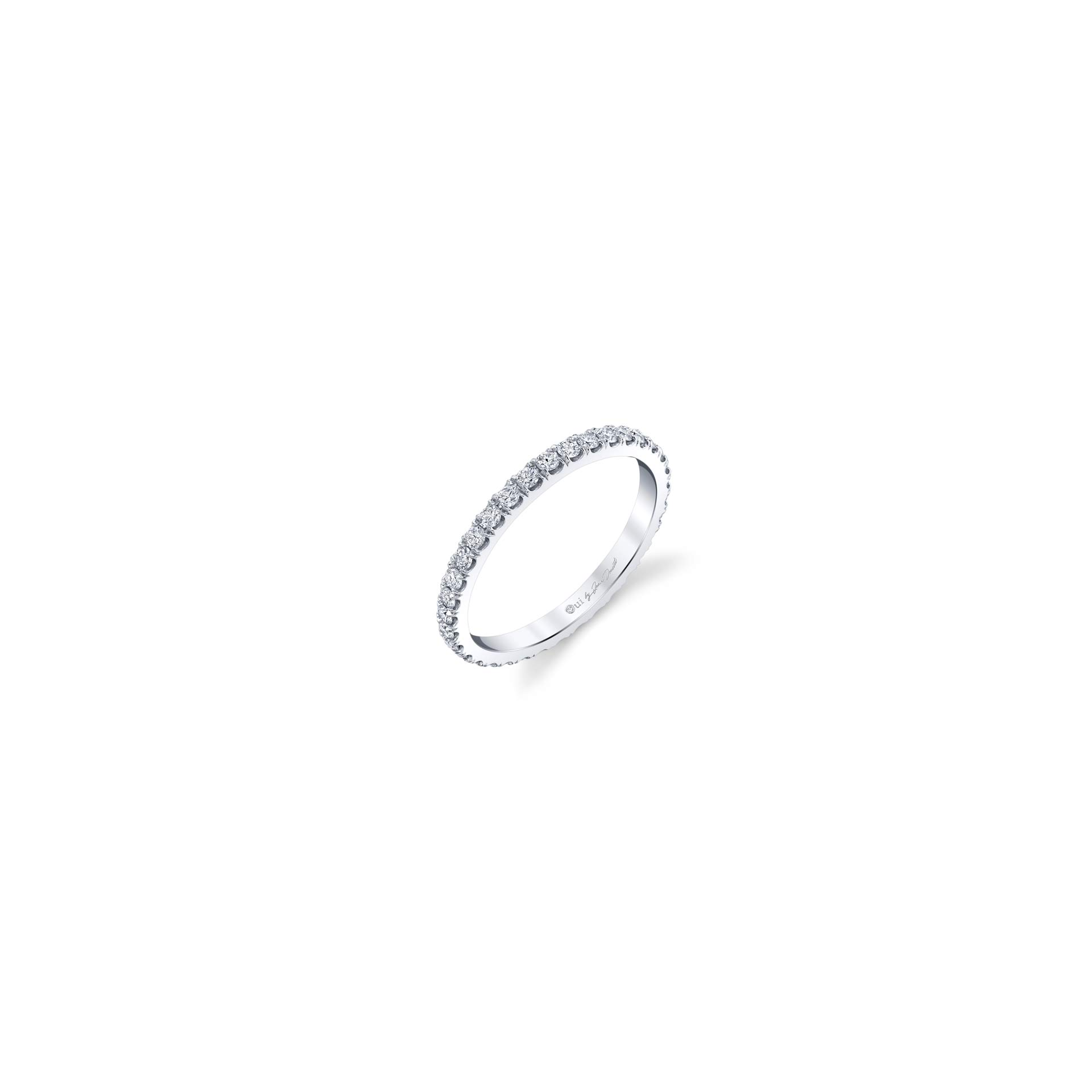 Eloise Women's Wedding Band with diamond pavé in 18k White Gold Standing View by Oui by Jean Dousset