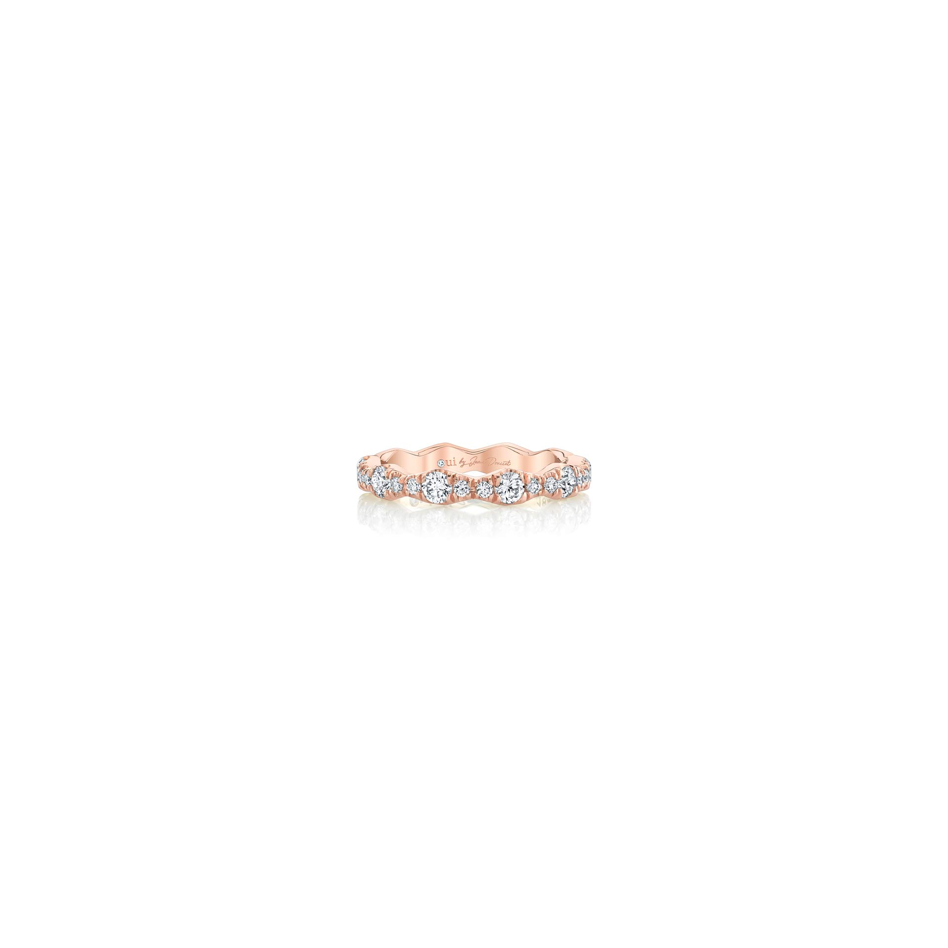 Yvonne Women's Wedding Band with a diamond pavé wave in 18k Rose Gold Front View by Oui by Jean Dousset