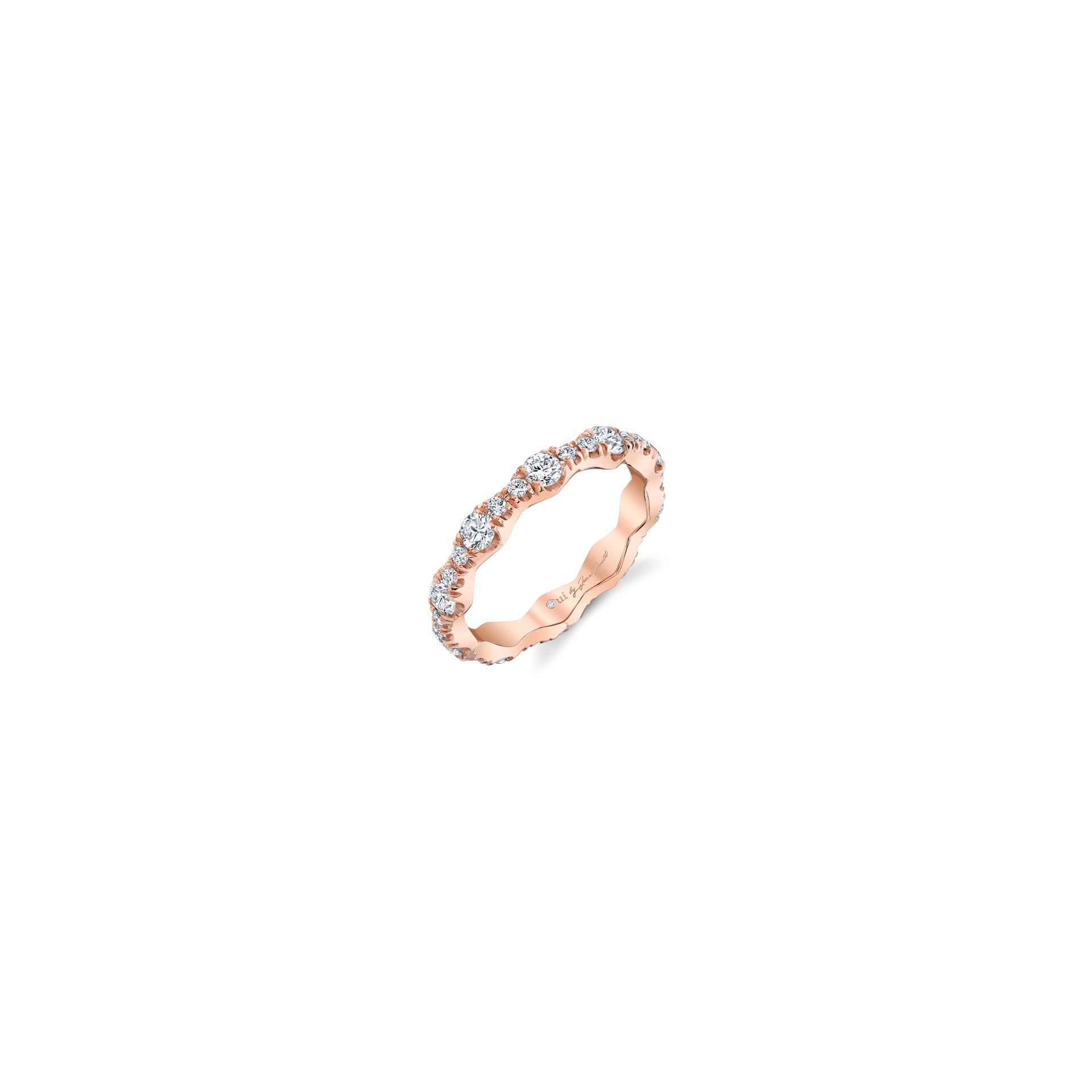 Yvonne Women's Wedding Band with a diamond pavé wave in 18k Rose Gold Standing View by Oui by Jean Dousset