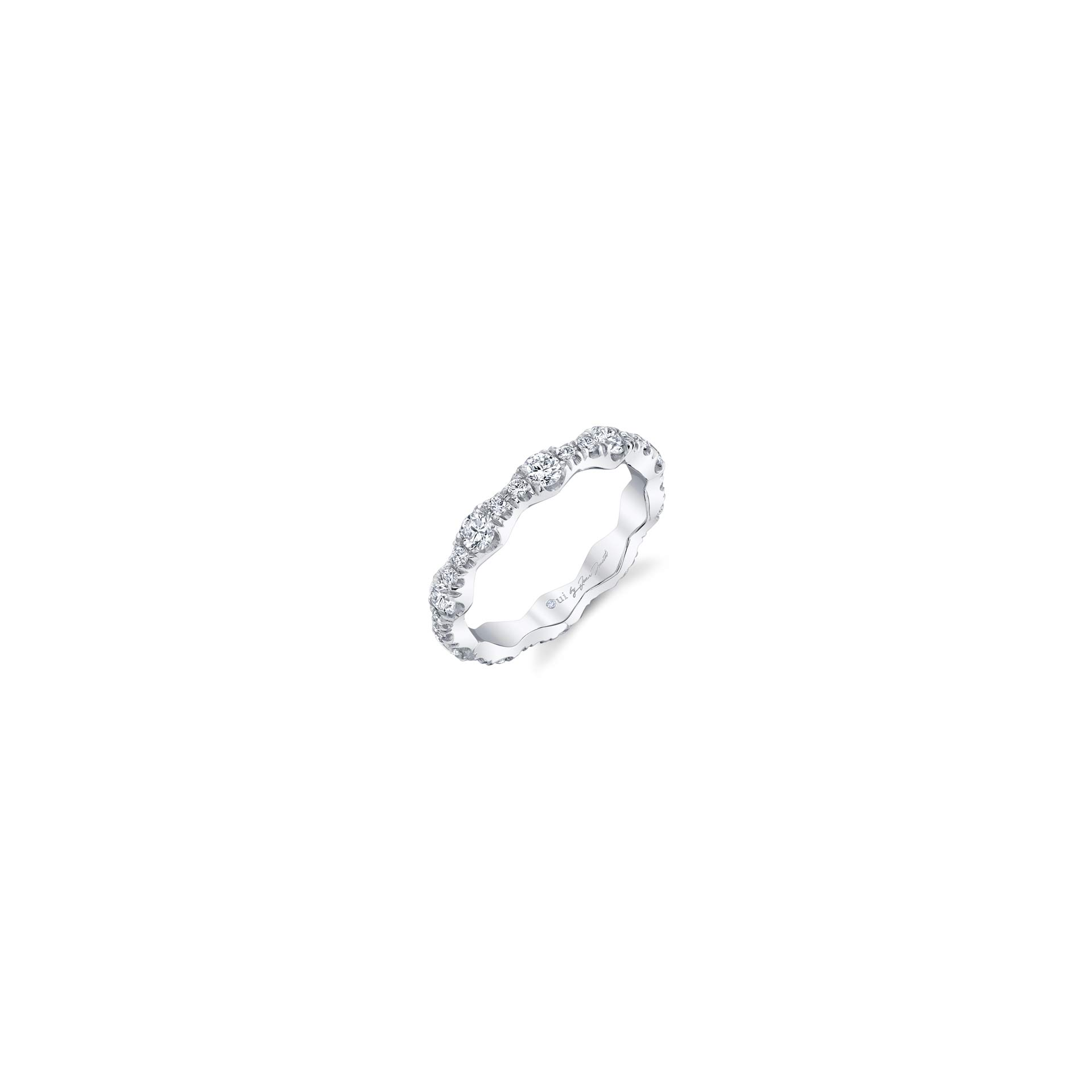 Yvonne Women's Wedding Band with a diamond pavé wave in 18k White Gold Standing View by Oui by Jean Dousset