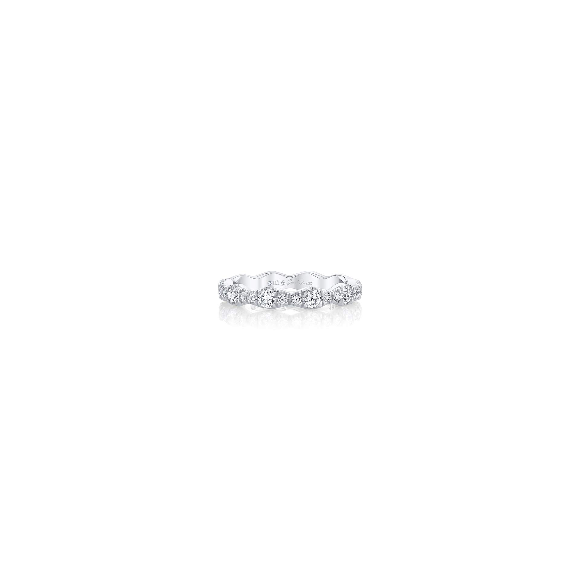 Yvonne Women's Wedding Band with a diamond pavé wave in 18k White Gold Front View by Oui by Jean Dousset