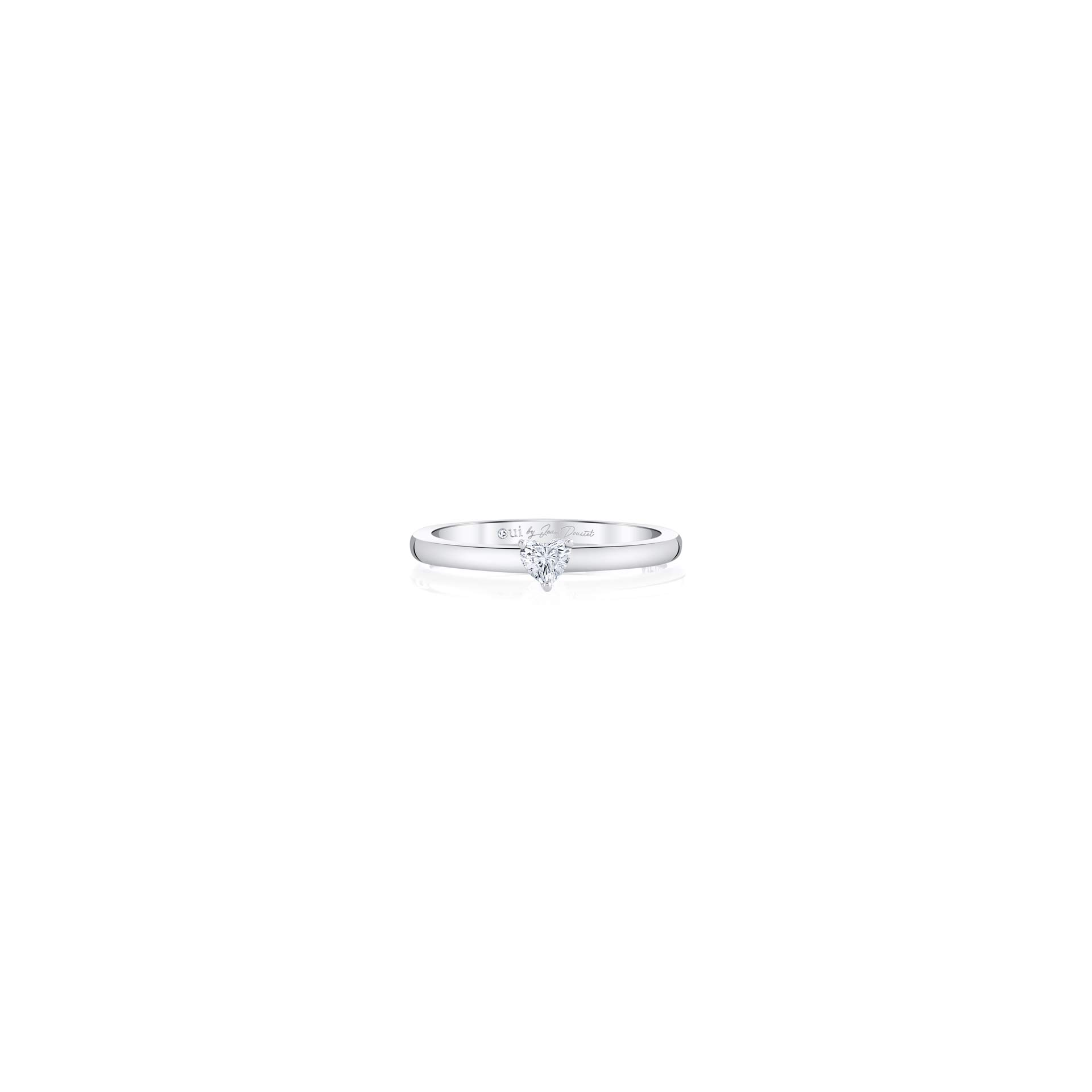 La Petite Heart Diamond Wedding Band in 18k White Gold Front View by Oui by Jean Dousset