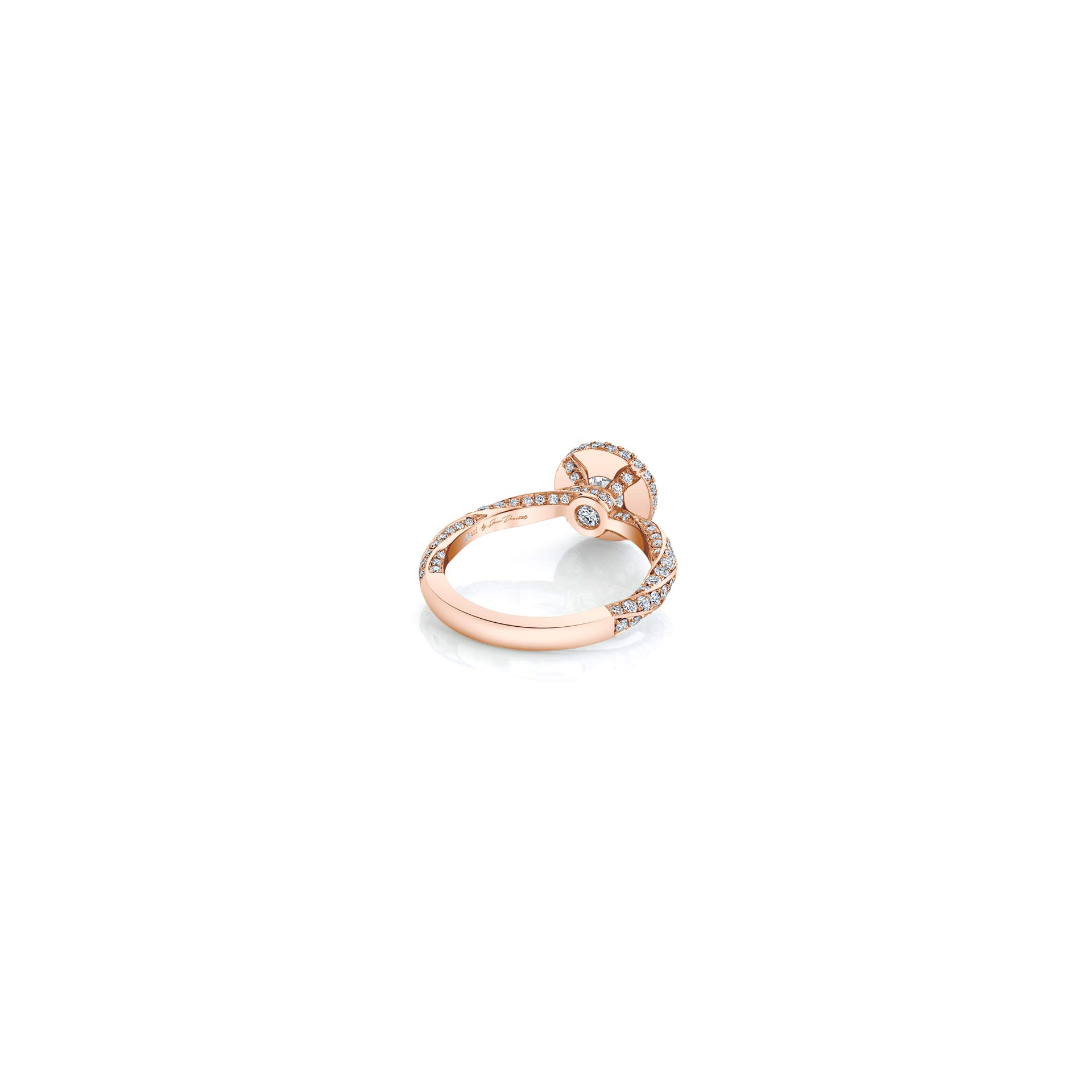 Camille Round Brilliant Seamless Halo® Engagement Ring with diamond pavé in 18k Rose Gold Back View by Oui by Jean Dousset