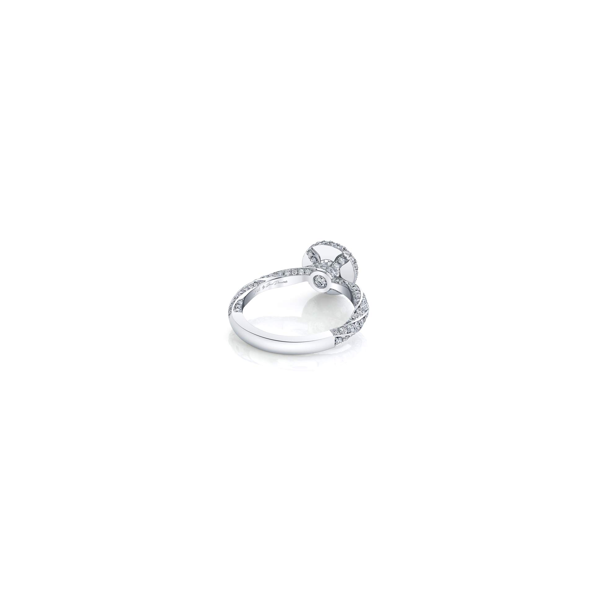 Camille Round Brilliant Seamless Halo® Engagement Ring with diamond pavé in 18k White Gold Back View by Oui by Jean Dousset