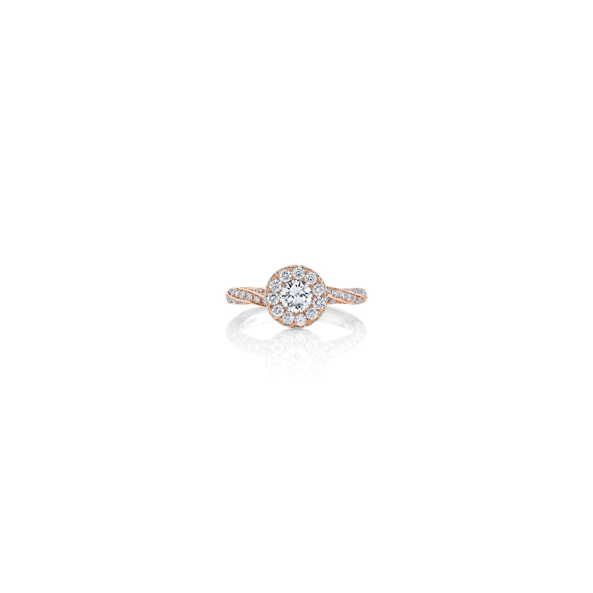 Camille Round Brilliant Seamless Halo® Engagement Ring with diamond pavé in 18k Rose Gold Front View by Oui by Jean Dousset