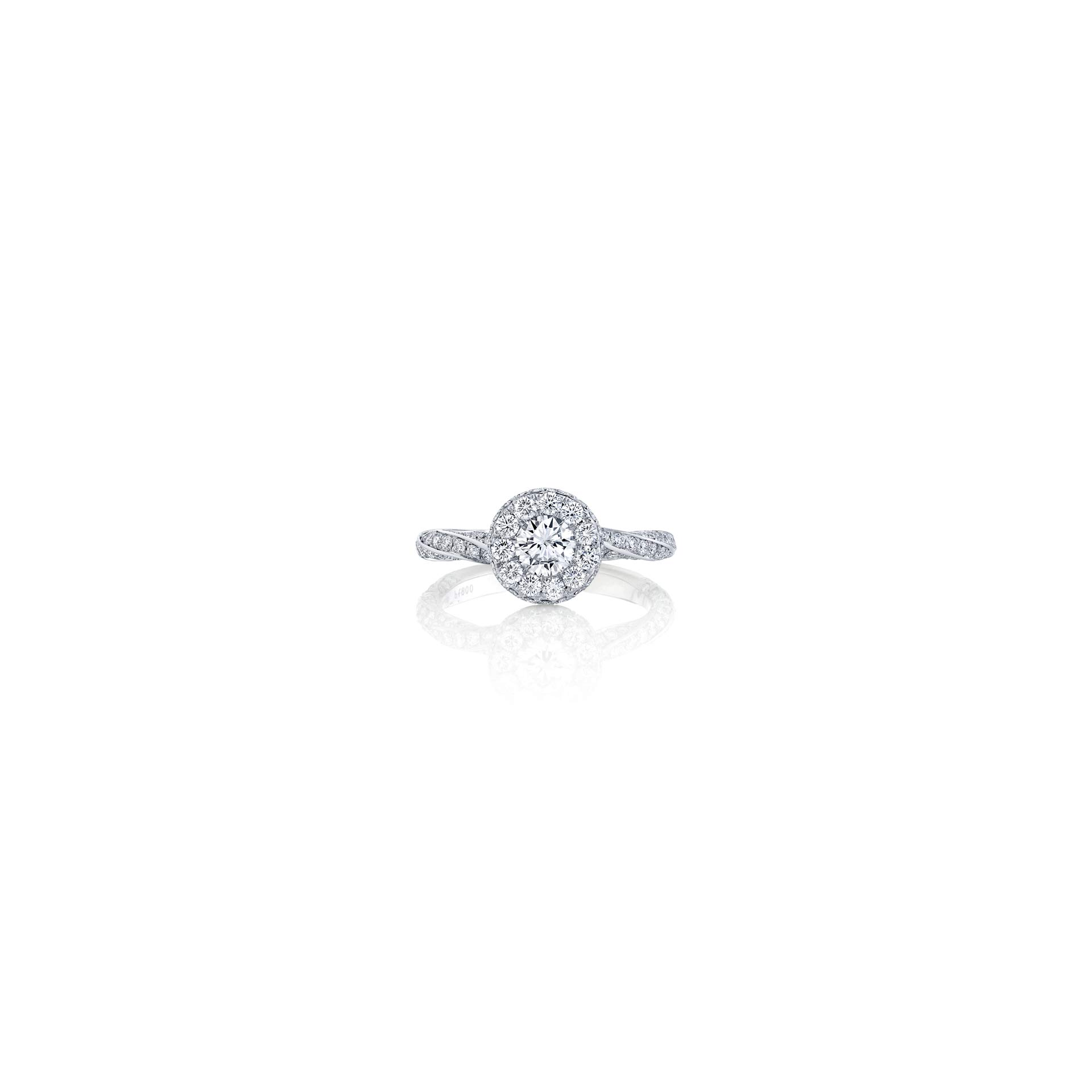 Camille Round Brilliant Seamless Halo® Engagement Ring with diamond pavé in 18k White Gold Front View by Oui by Jean DoussetCamille Round Brilliant Seamless Halo® Engagement Ring with diamond pavé in 18k White Gold by Oui by Jean Dousset