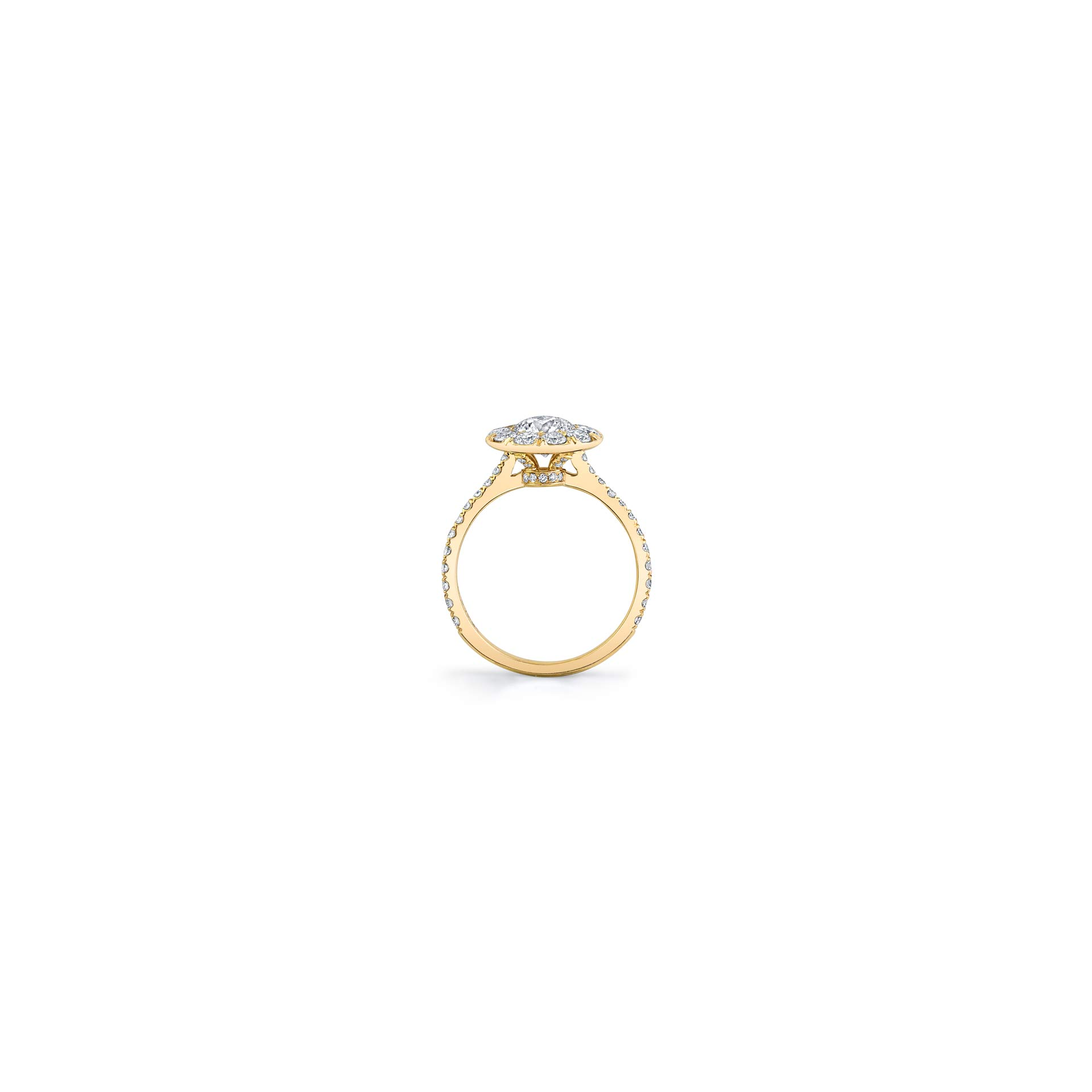 Eloise Round Brilliant Seamless Solitaire® Engagement Ring with diamond pavé in 18k Yellow Gold Standing View by Oui by Jean Dousset