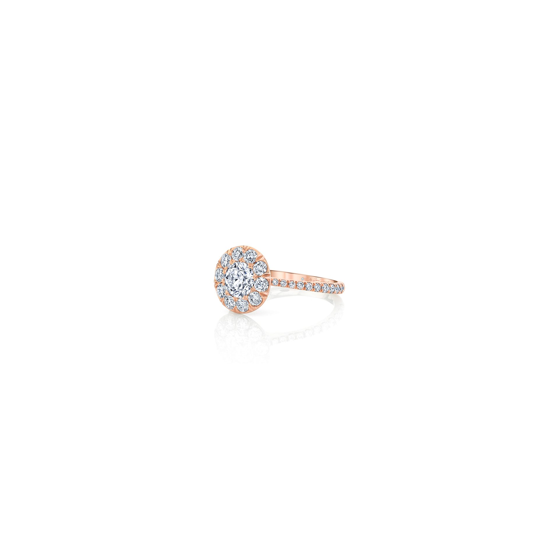 Eloise Floating Round Brilliant Seamless Solitaire® Engagement Ring with diamond pavé in 18k Rose Gold Side View by Oui by Jean Dousset