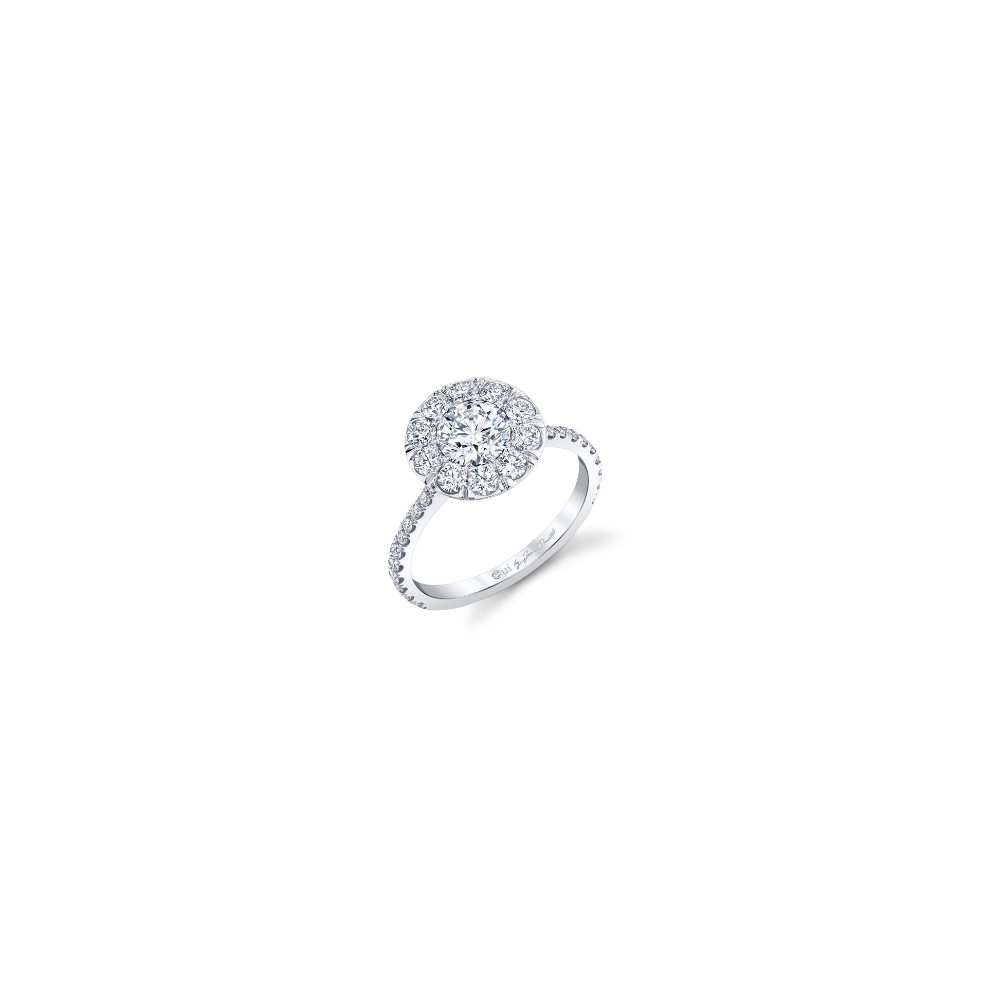 Eloise Floating Round Brilliant Seamless Solitaire® Engagement Ring with diamond pavé in 18k White Gold Front View by Oui by Jean Dousset