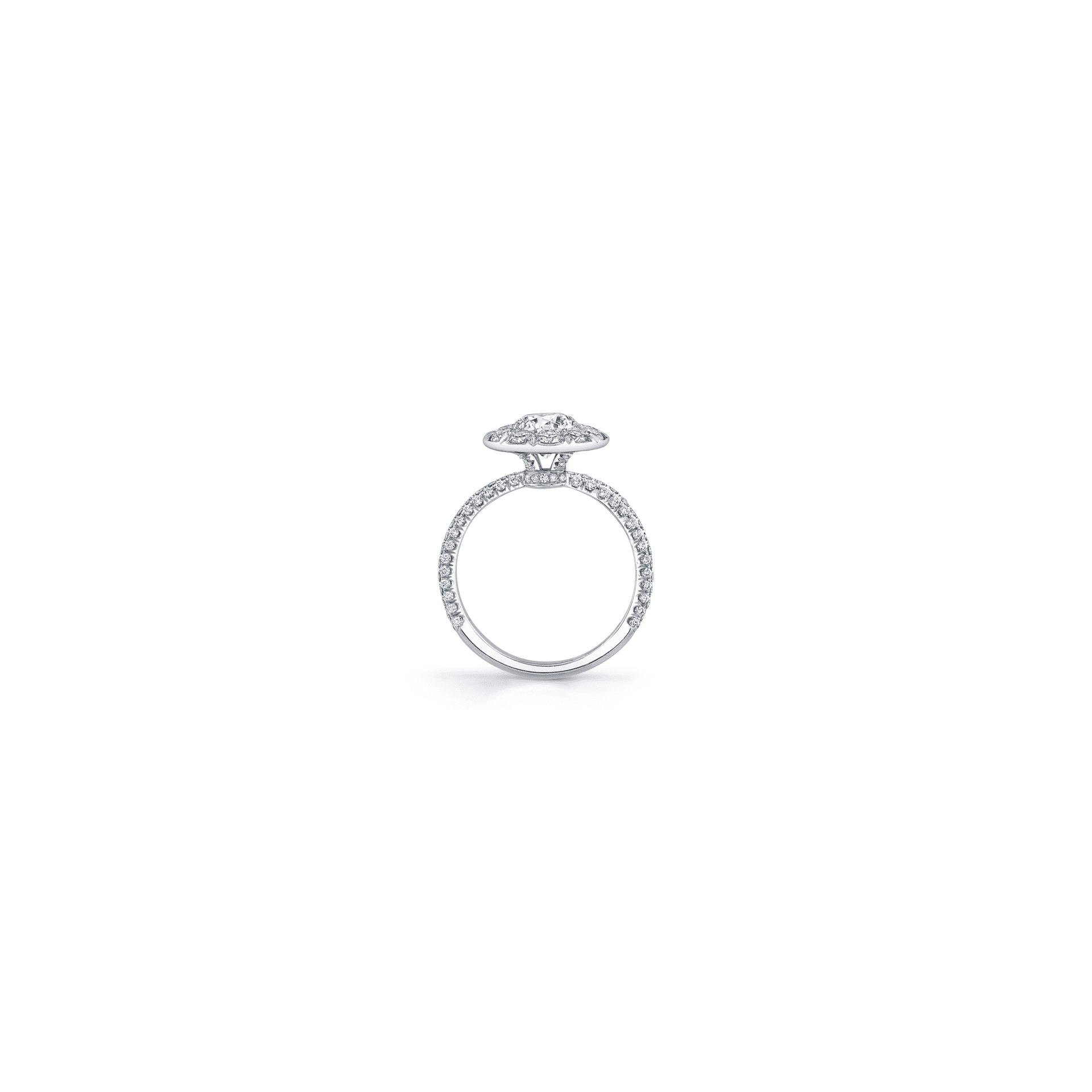 Jacqueline Floating Round Brilliant Seamless Solitaire® Engagement Ring with diamond pavé in 18k White Gold Standing View by Oui by Jean Dousset