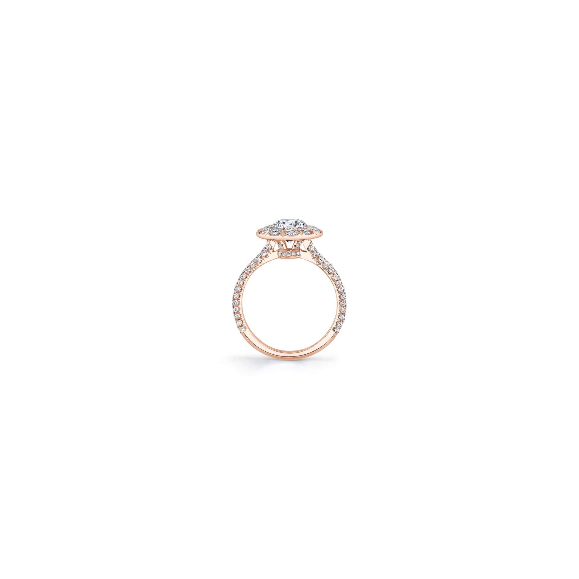 Jacqueline Round Brilliant Seamless Solitaire® Engagement Ring with diamond pavé in 18k Rose Gold Standing View by Oui by Jean Dousset