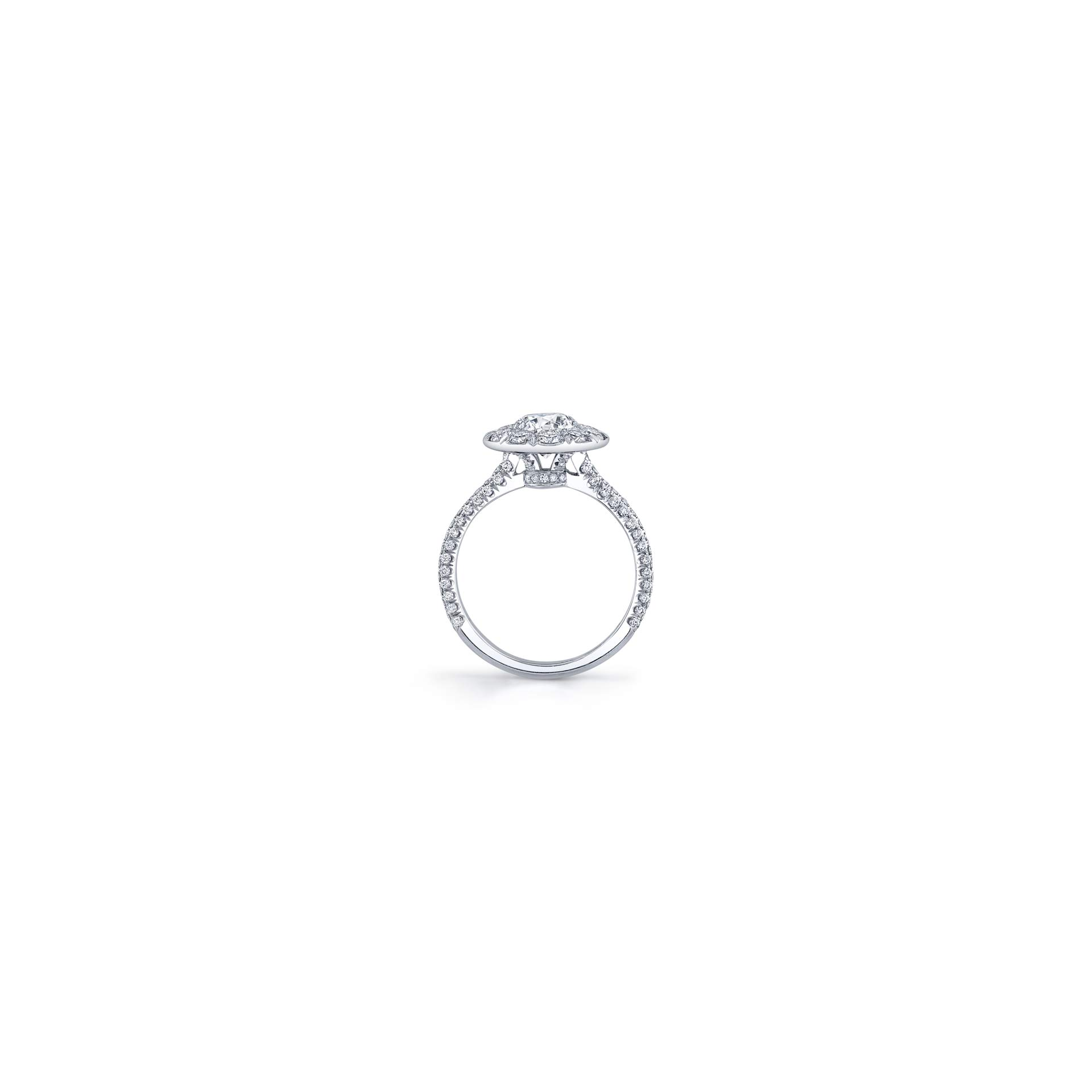 Jacqueline Round Brilliant Seamless Solitaire® Engagement Ring with diamond pavé in 18k White Gold Standing View by Oui by Jean Dousset