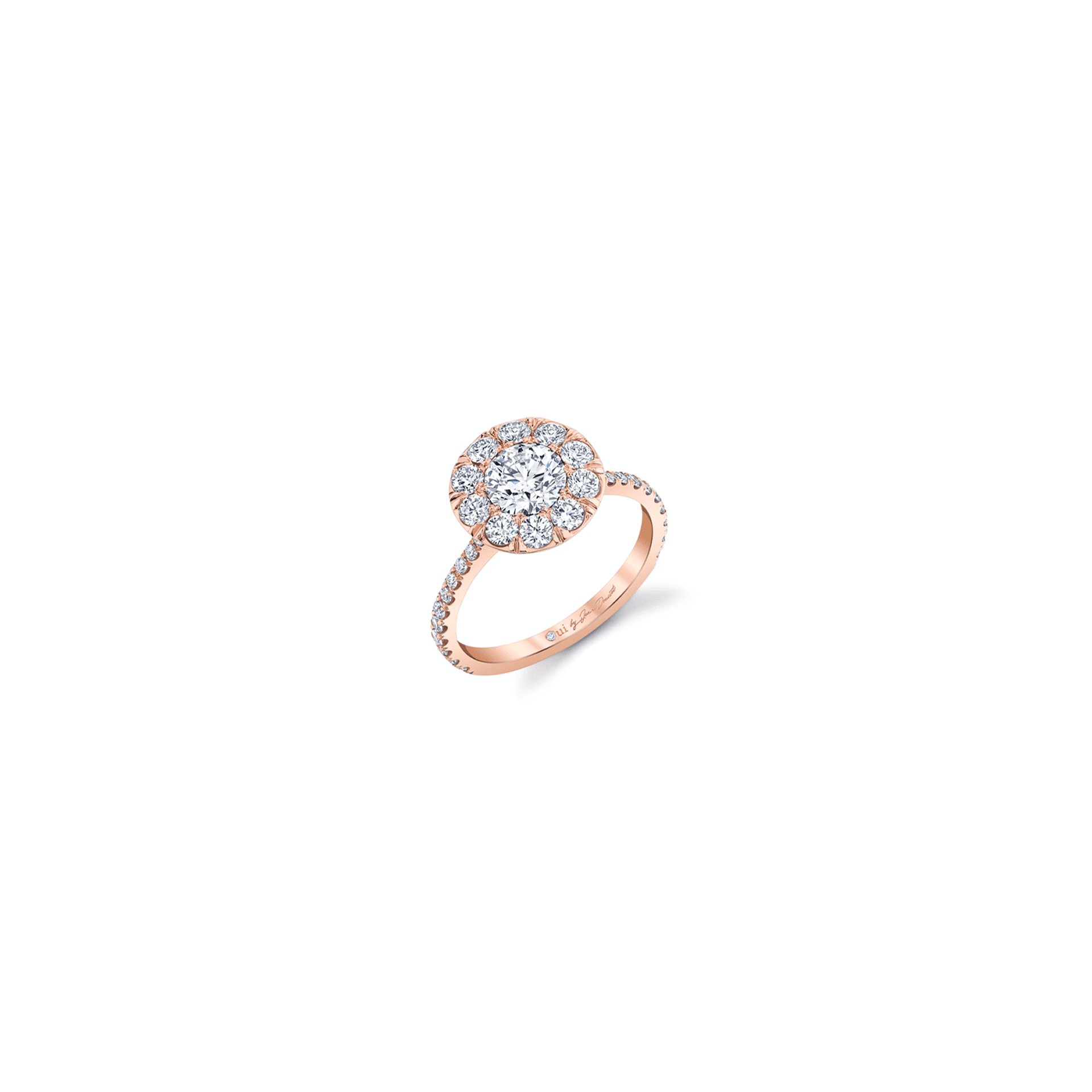 Eloise Floating Round Brilliant Seamless Solitaire® Engagement Ring with diamond pavé in 18k Rose Gold Front View by Oui by Jean Dousset