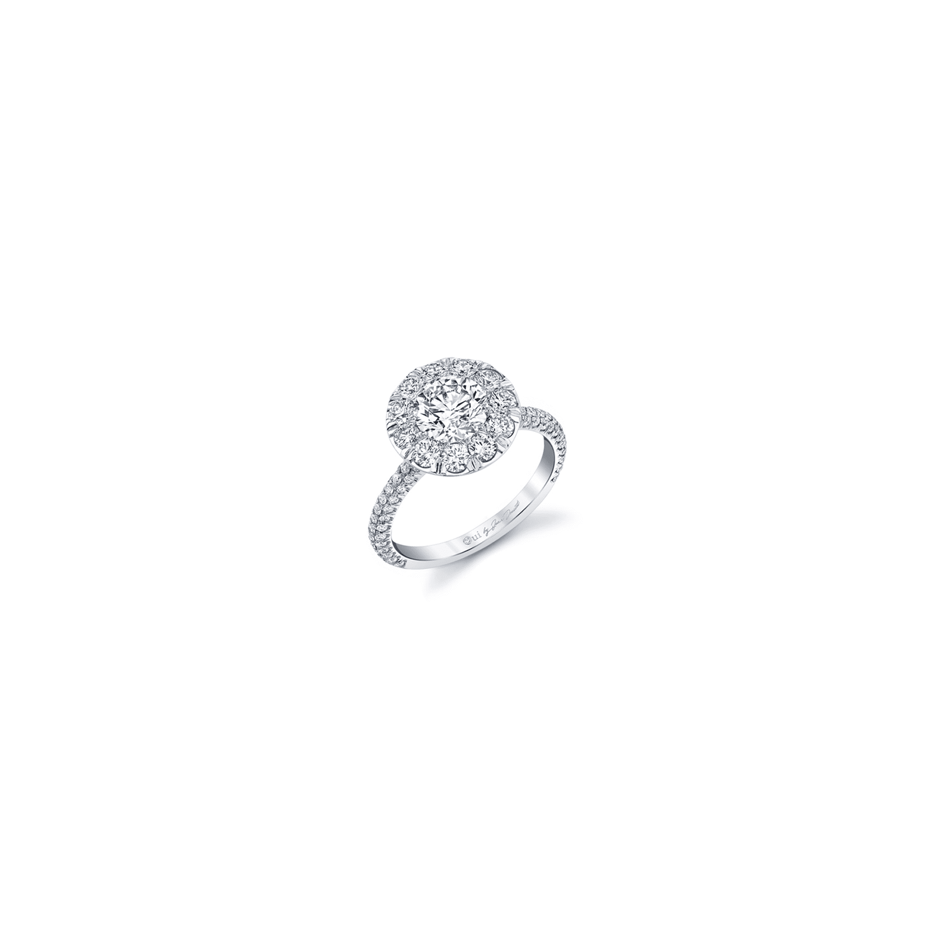 Jacqueline Round Brilliant Seamless Solitaire® Engagement Ring with diamond pavé in 18k White Gold Front View by Oui by Jean Dousset