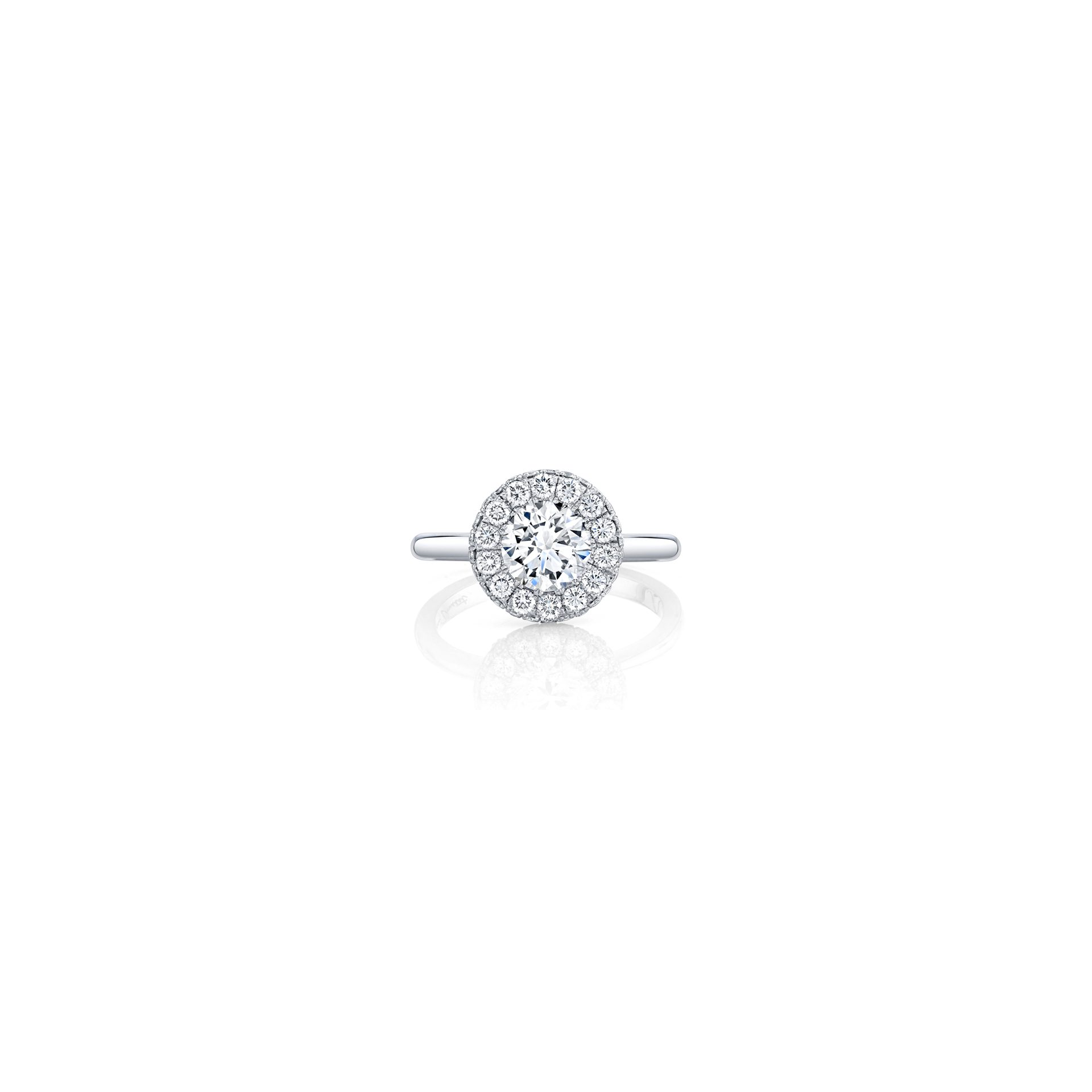 Colette Round Brilliant Seamless Halo® Engagement Ring with a solid band in 18k White Gold Front View by Oui by Jean Dousset