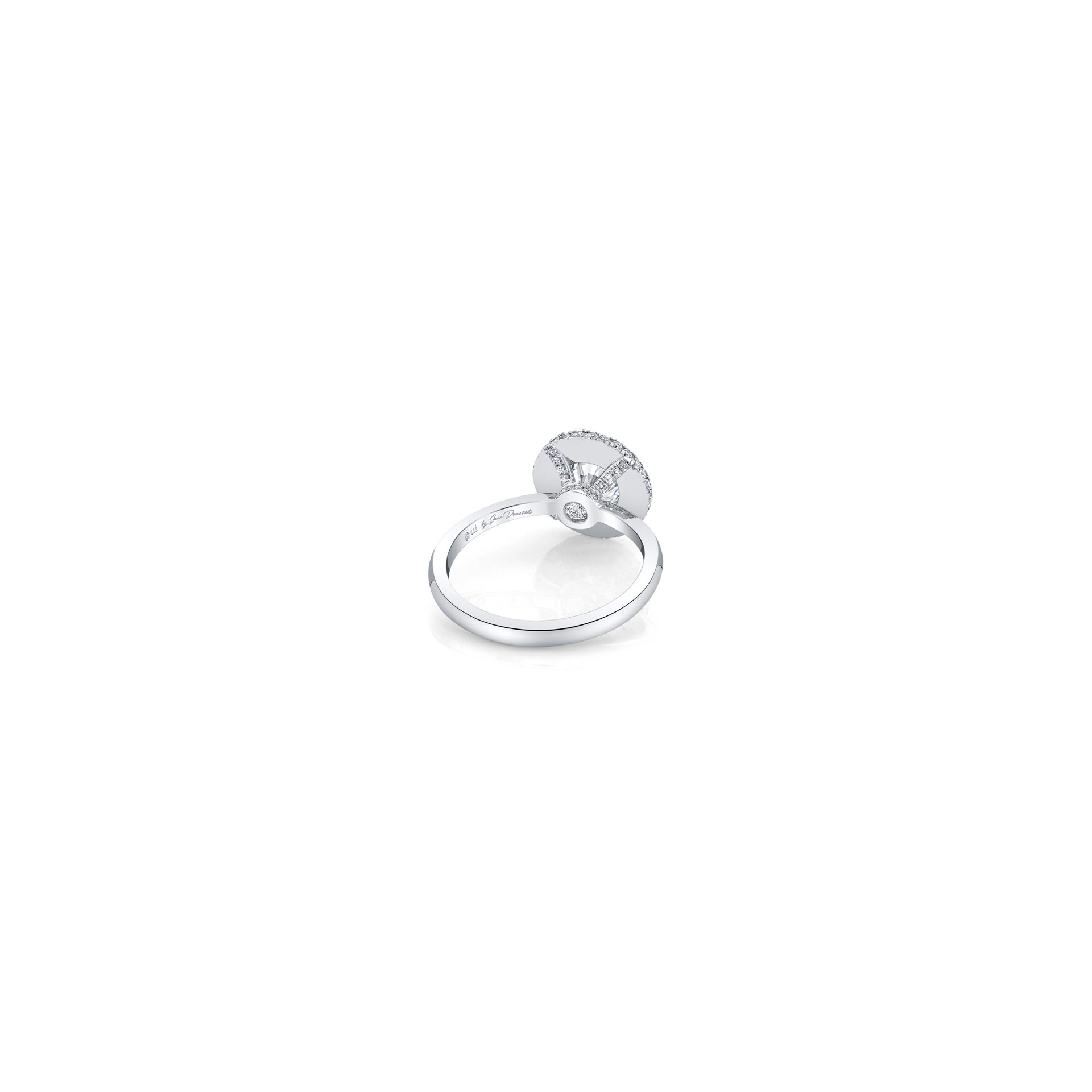 Colette Round Brilliant Seamless Halo® Engagement Ring with a solid band in 18k White Gold Back View by Oui by Jean Dousset