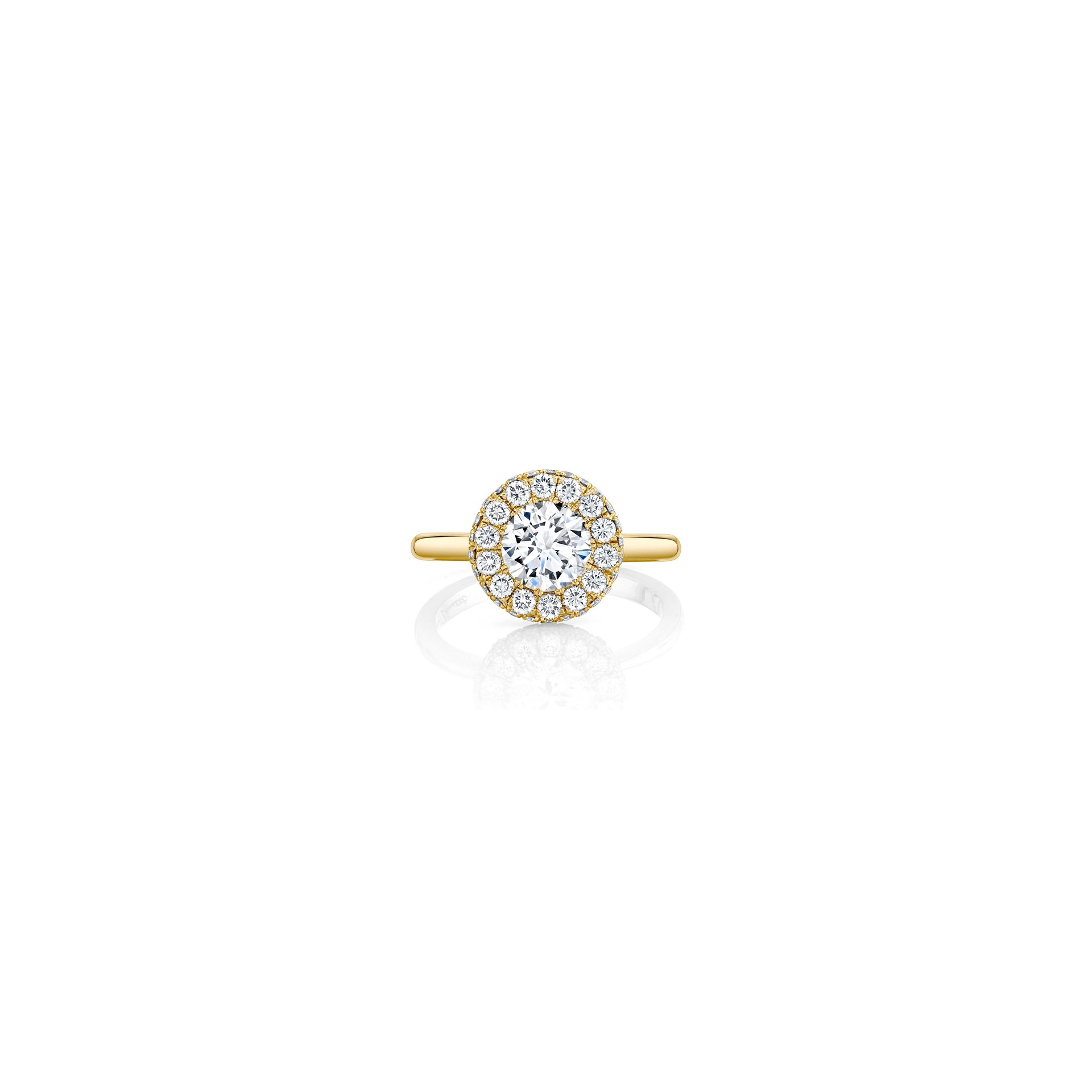 Colette Round Brilliant Seamless Halo® Engagement Ring with a solid band in 18k Yellow Gold Front View by Oui by Jean Dousset